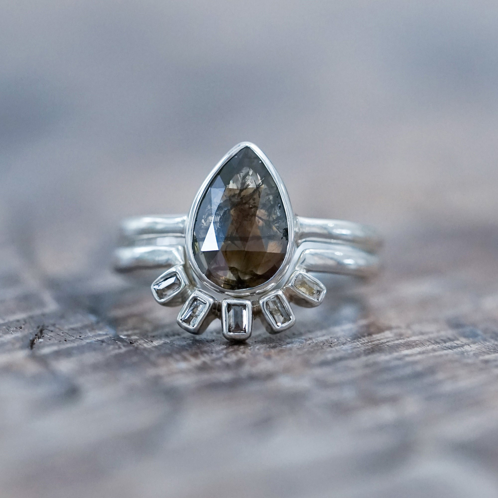 Pear Diamond Crown Ring Set