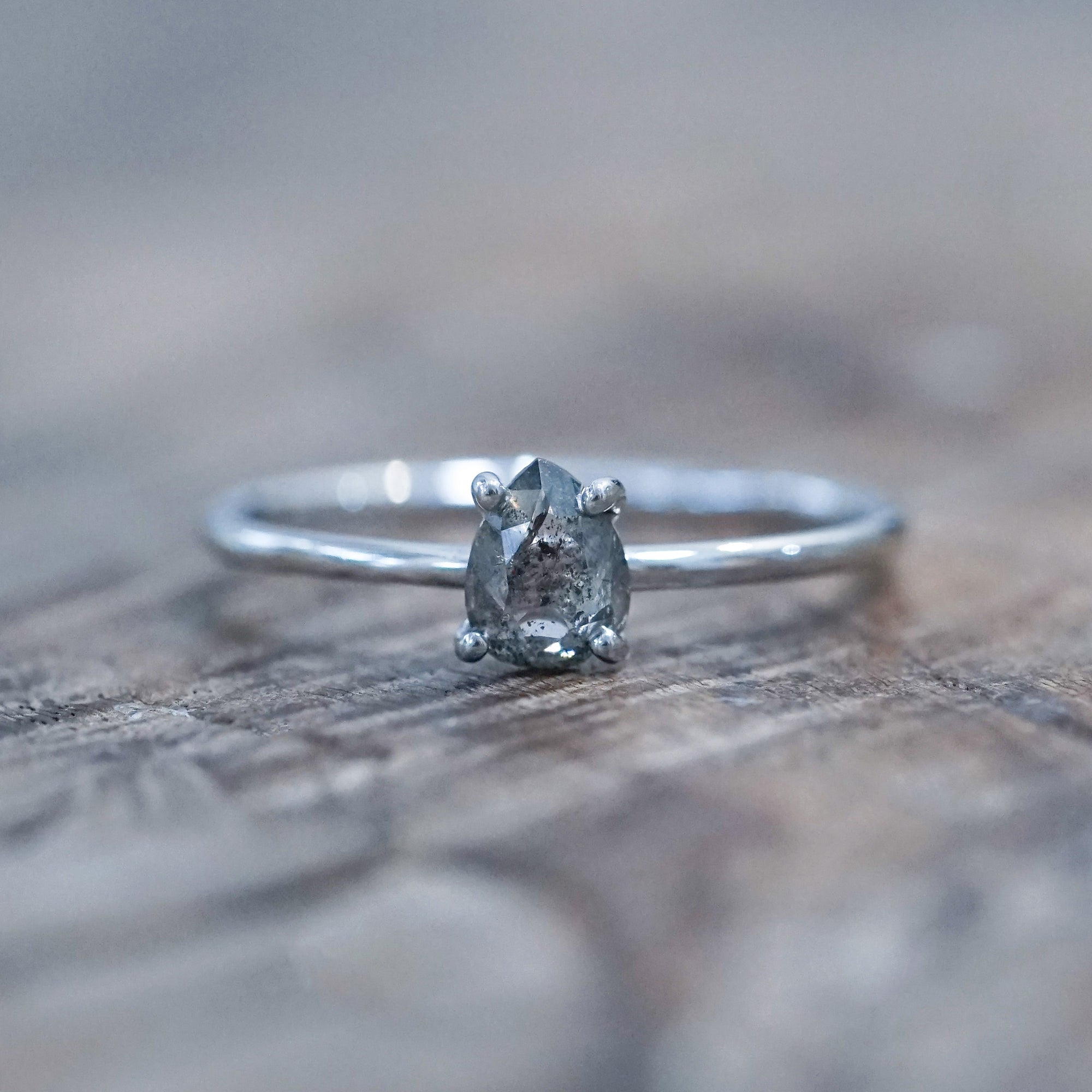 Rose Cut Salt and Pepper Pear Diamond Ring in White Gold