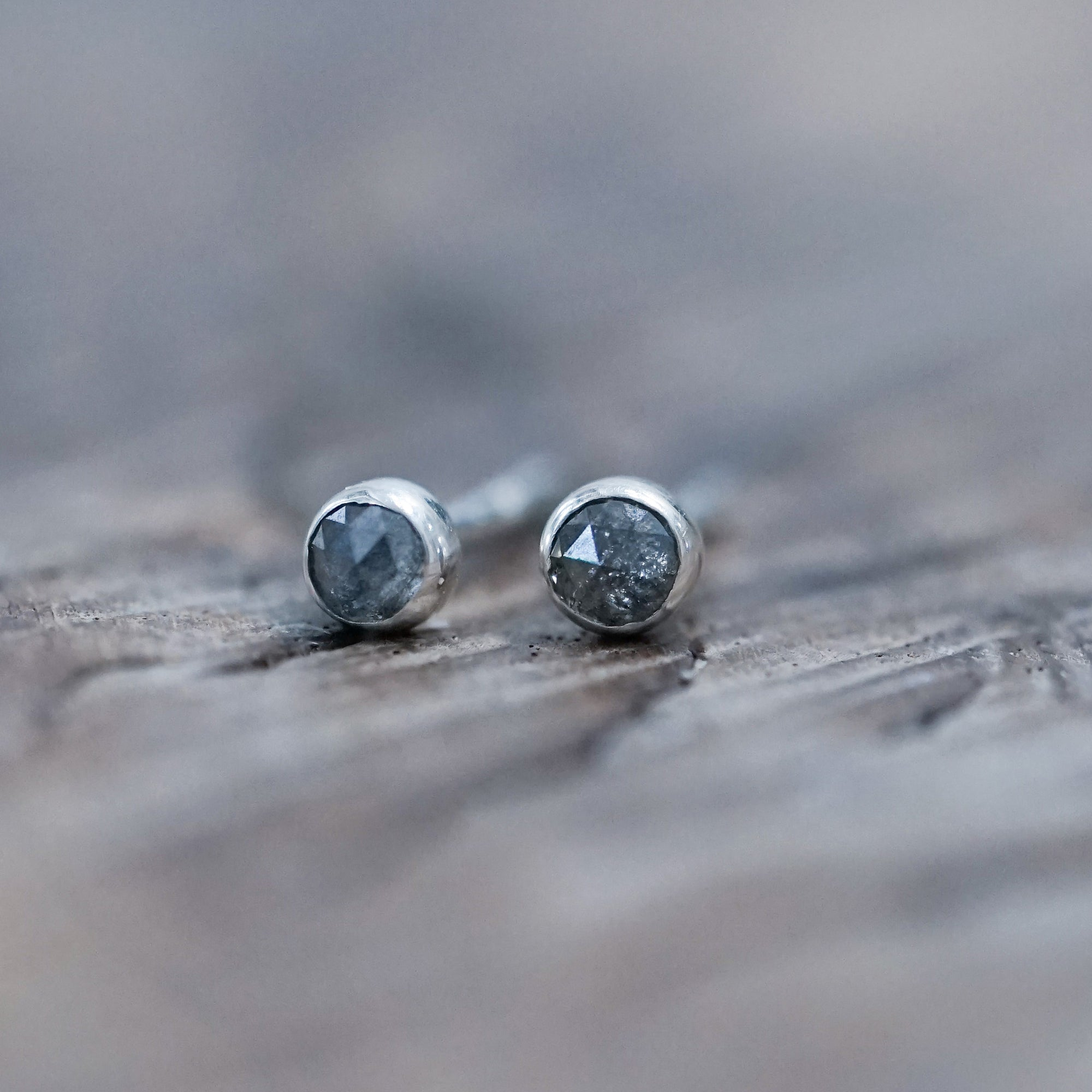 Rose Cut Diamond Earrings in Eco Silver