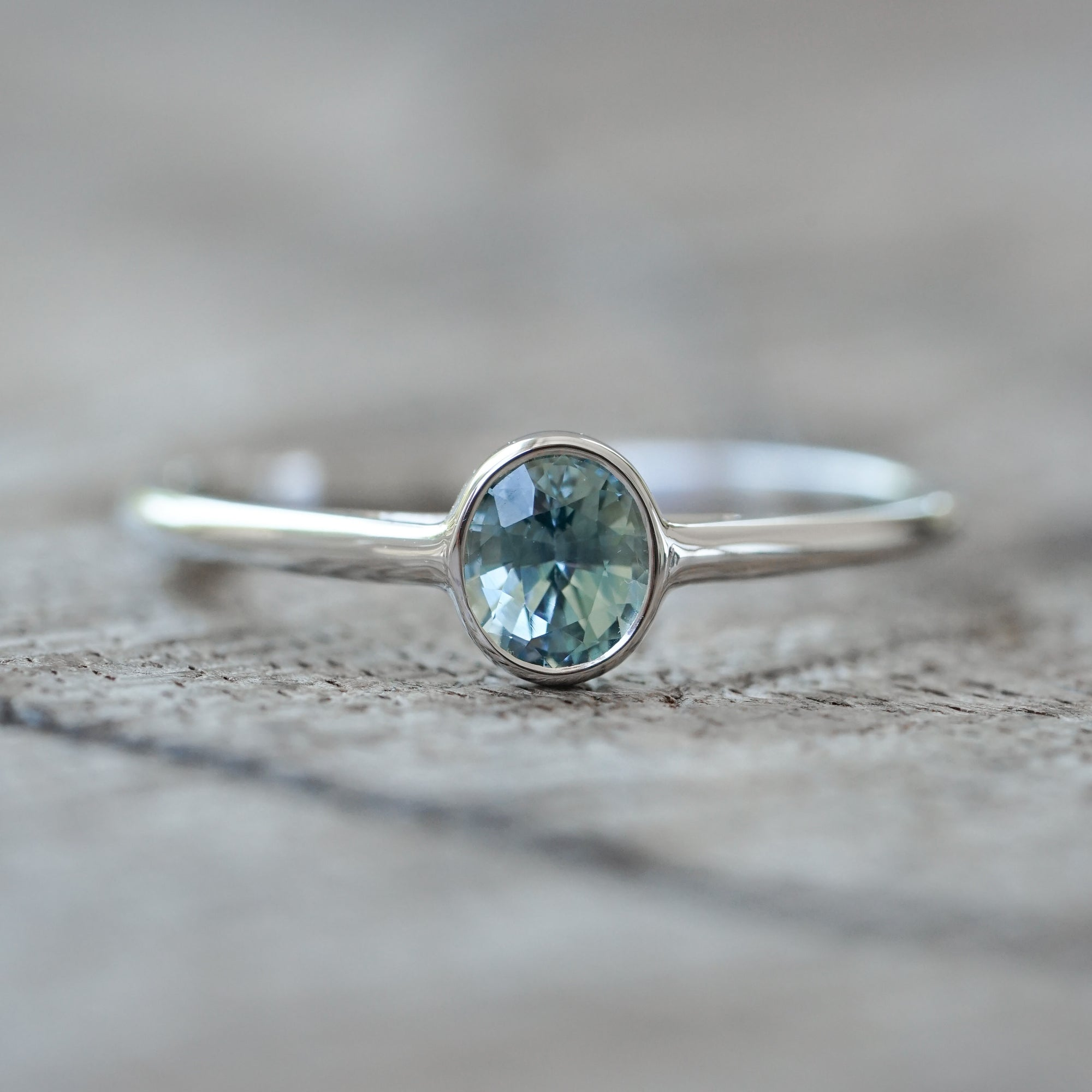 Seafoam Sapphire Ring in White Gold