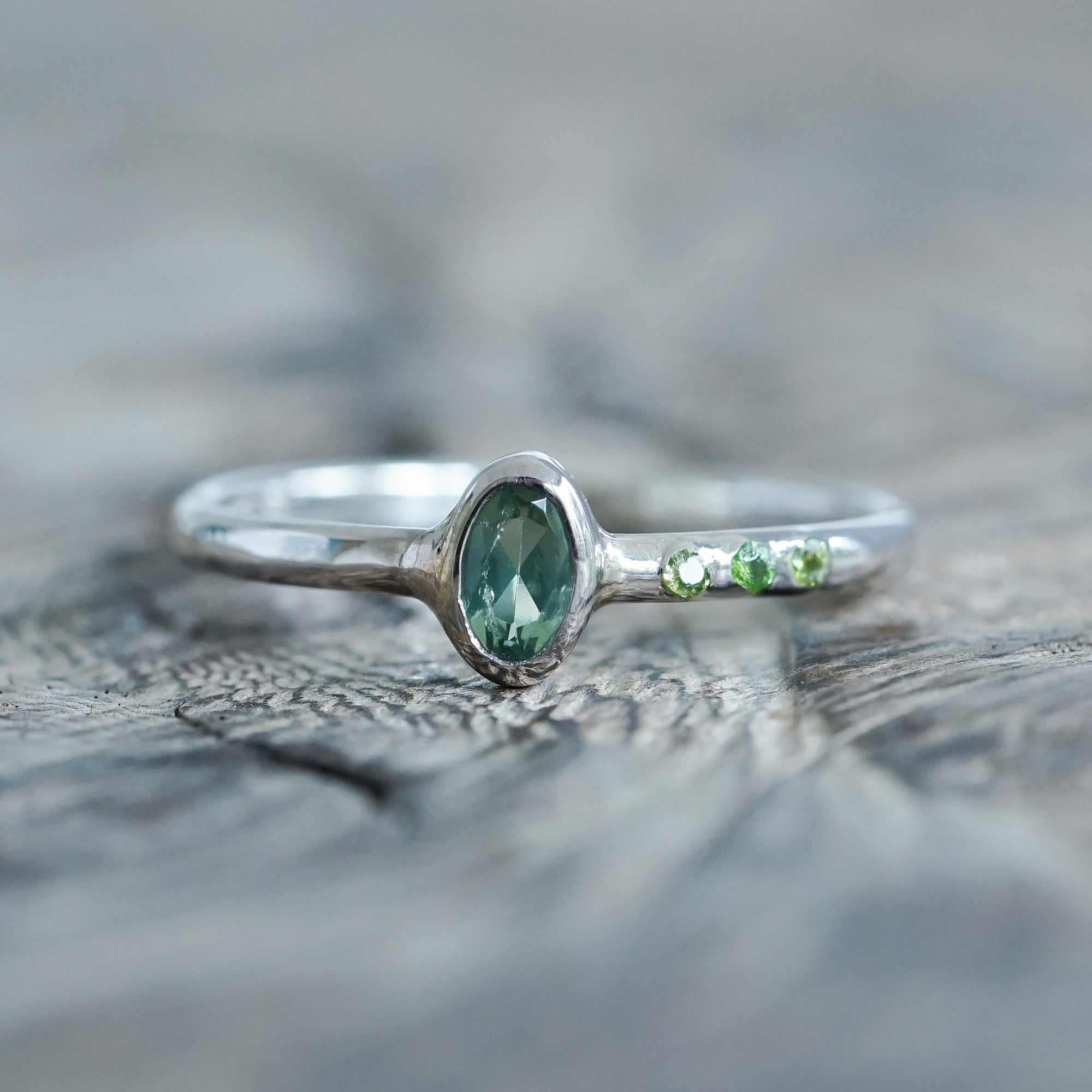 Green Apatite and Diopside Ring