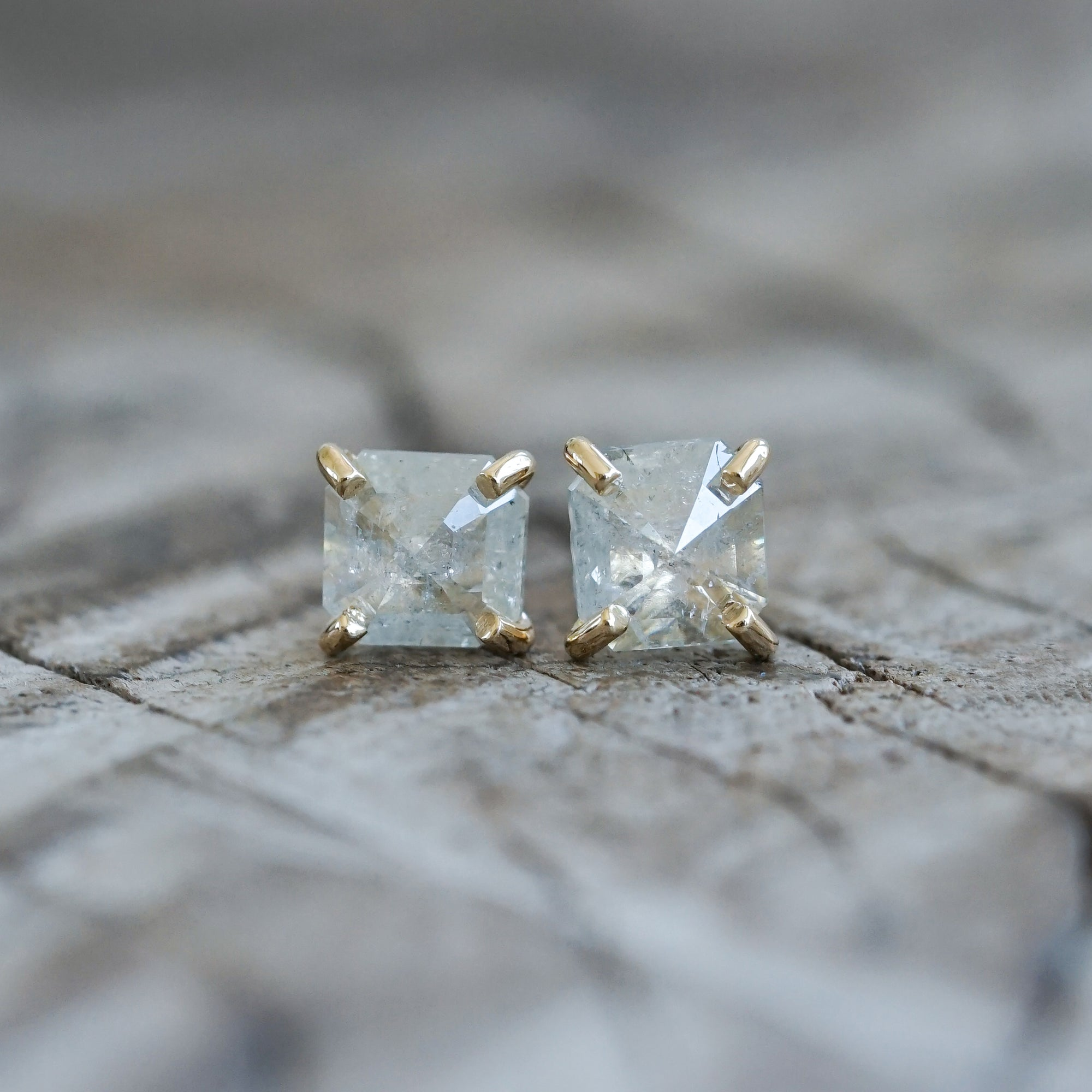 Rose Cut Diamond Earrings in Gold