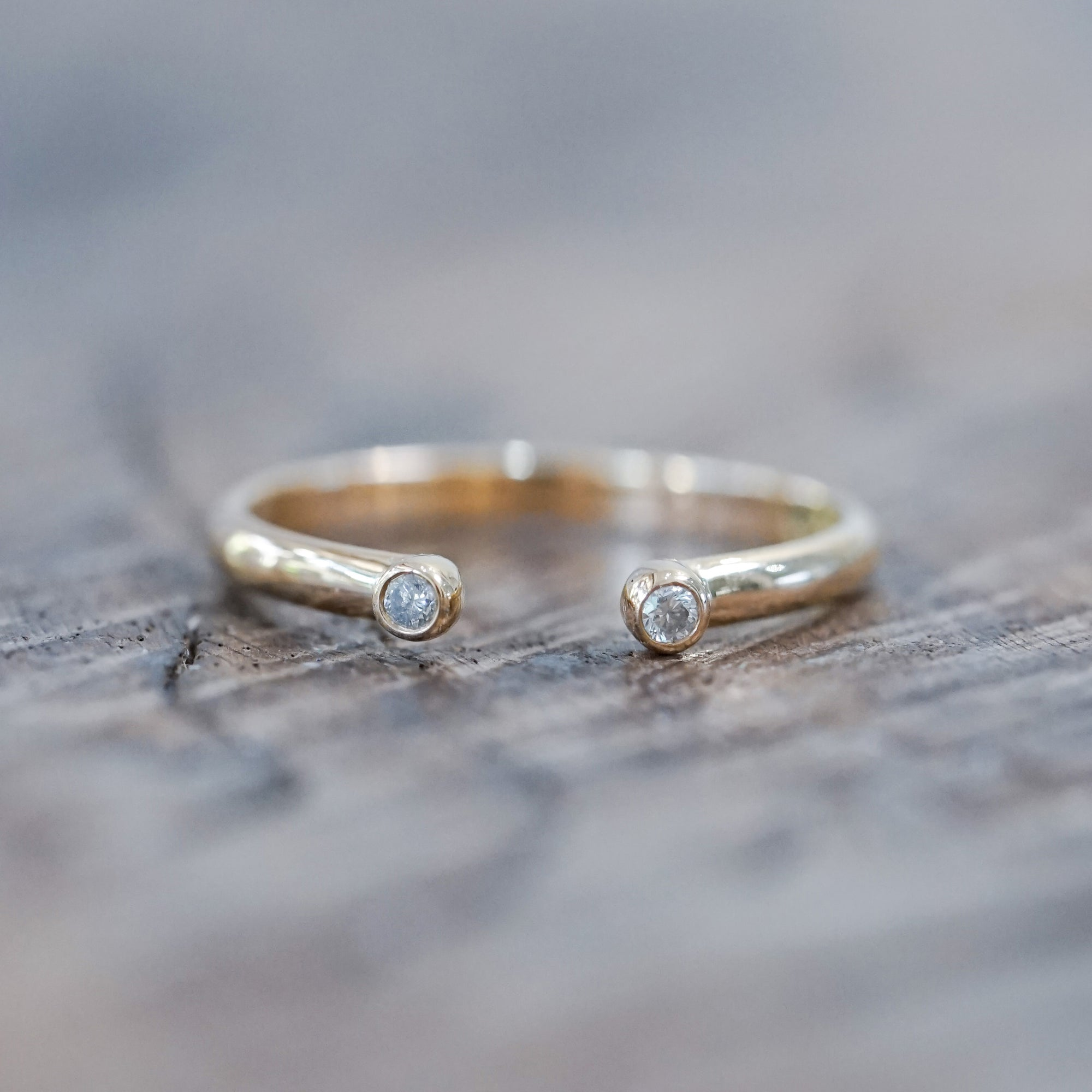 Open Diamond Ring in Eco Gold
