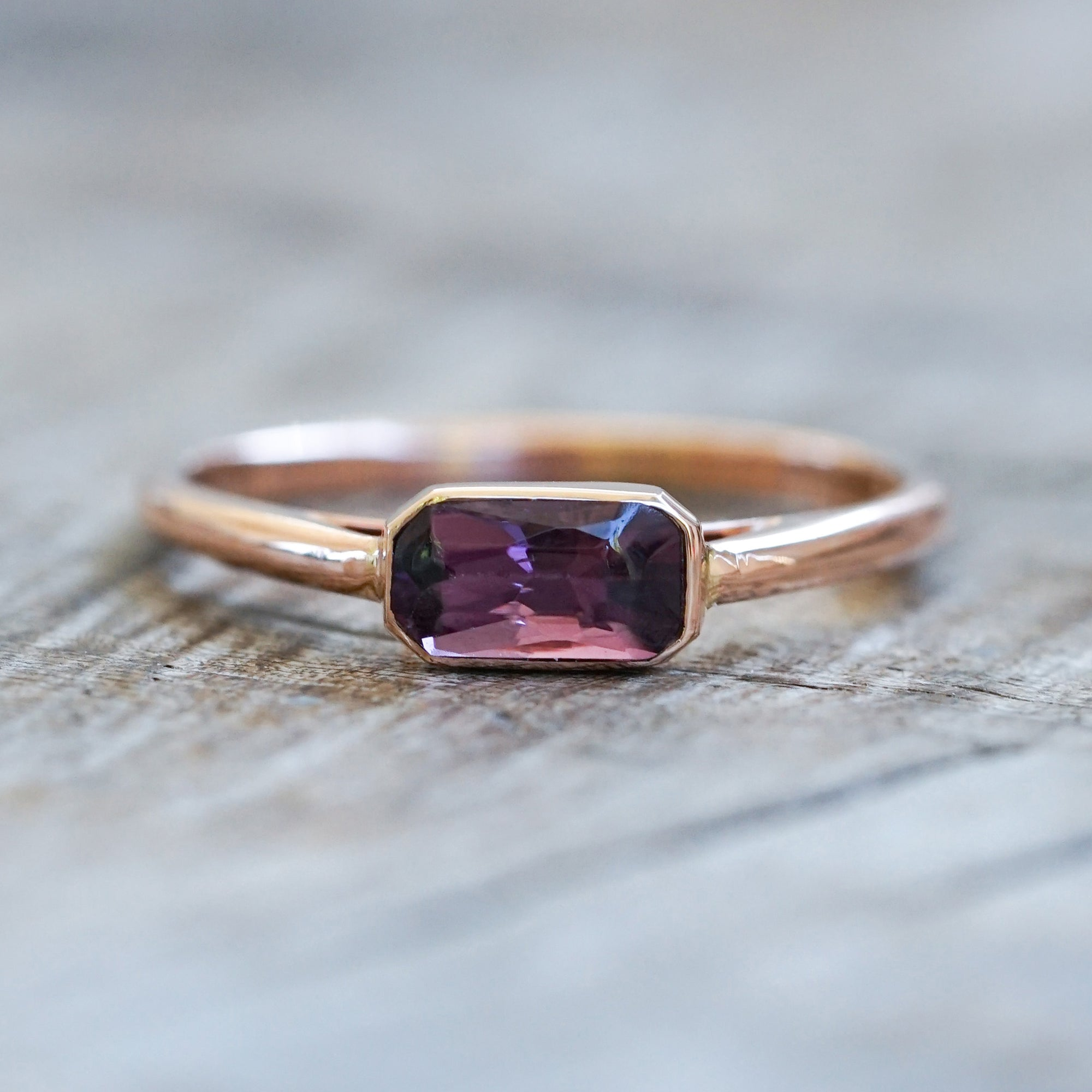 AA Meri Rectangular Ceylon Spinel Ring in Gold - Gardens of the Sun Jewelry