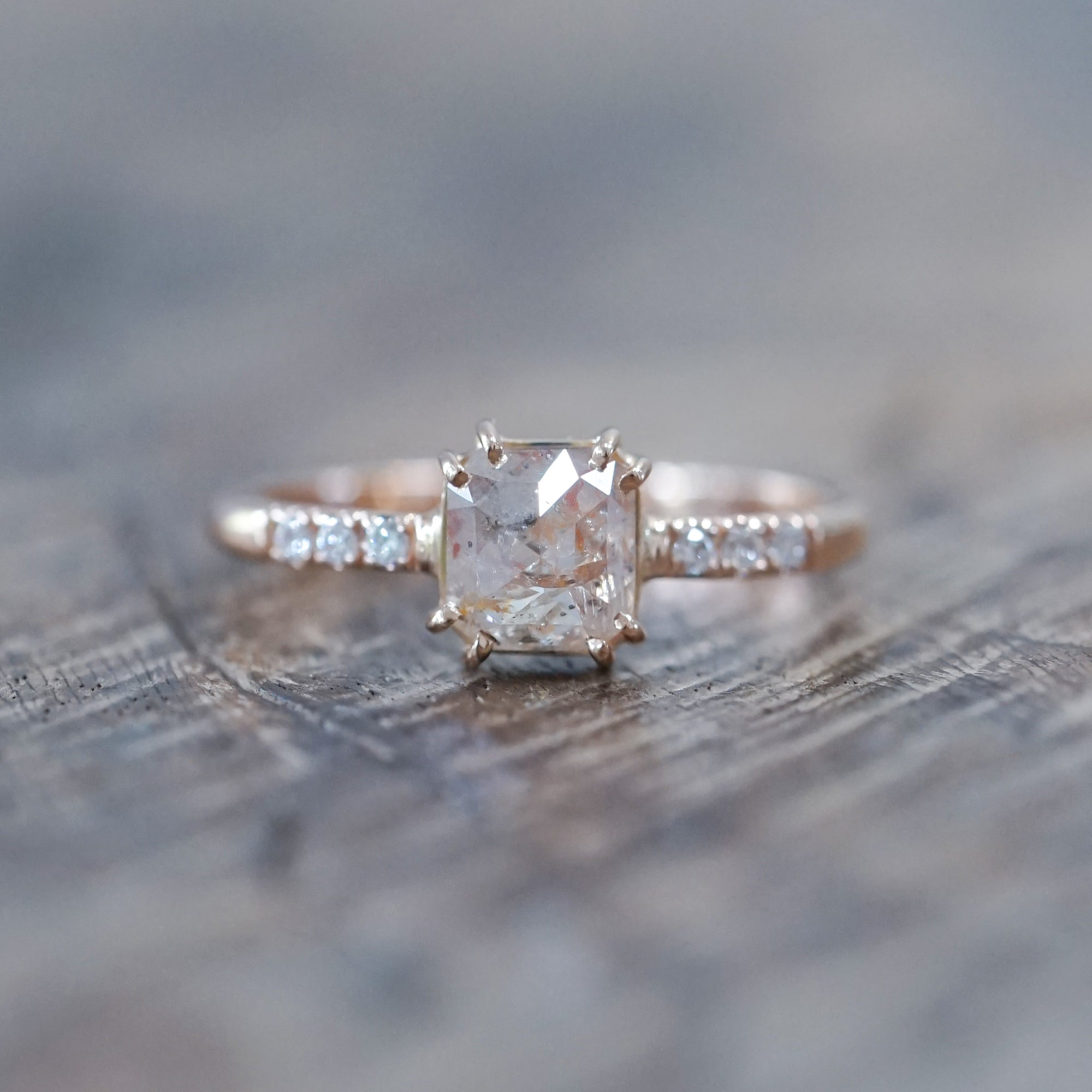 Peach Ice Diamond Ring in Rose Gold