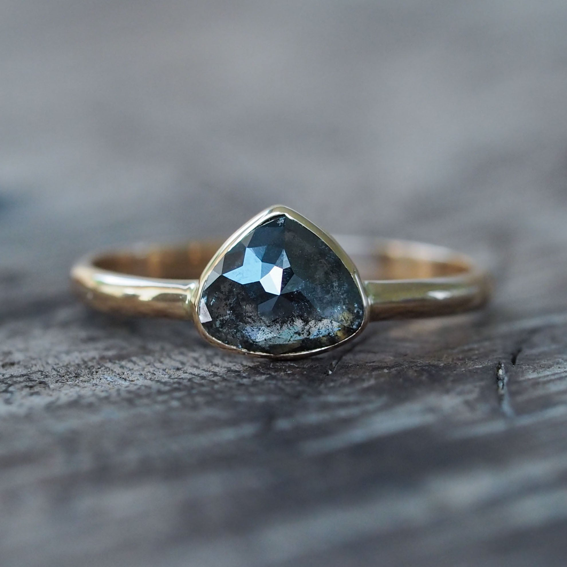 Dark Pear Diamond Ring