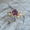 Garnet and Yogo Sapphire Ring Set in Eco Gold