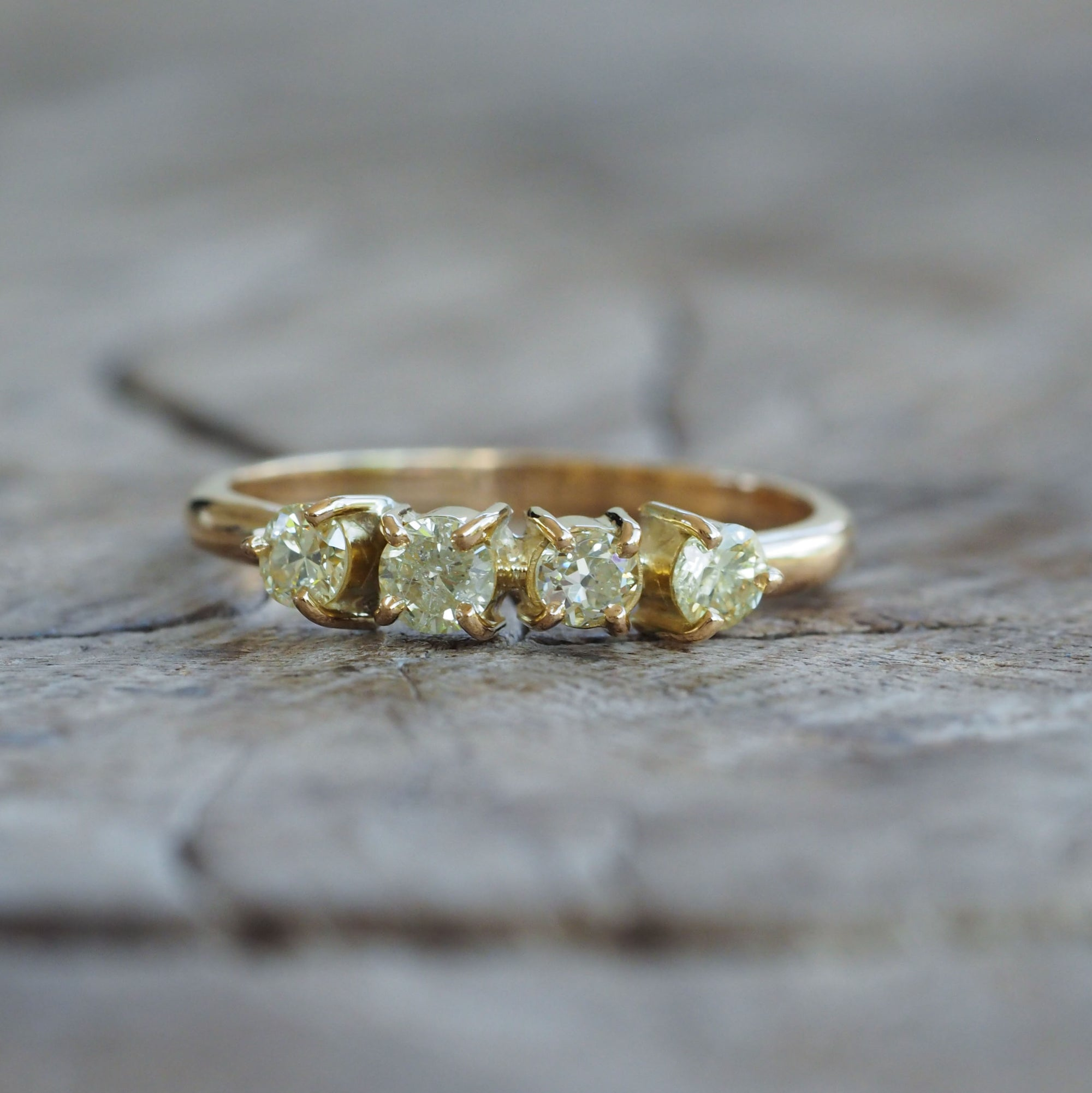 AA Yellow Diamond Cluster Ring in Eco Gold - Gardens of the Sun Jewelry