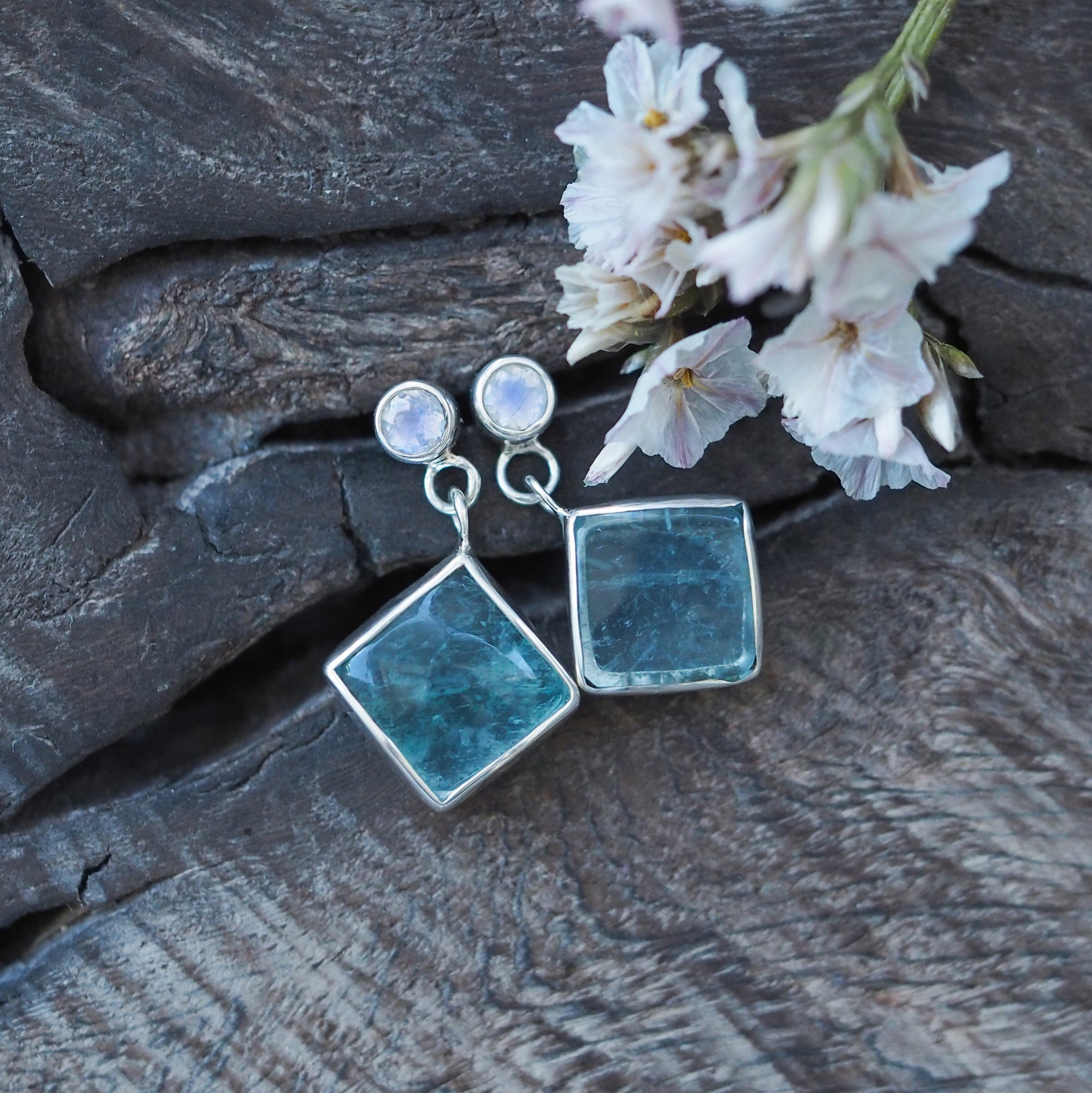 Moonstone and Fluorite Earrings