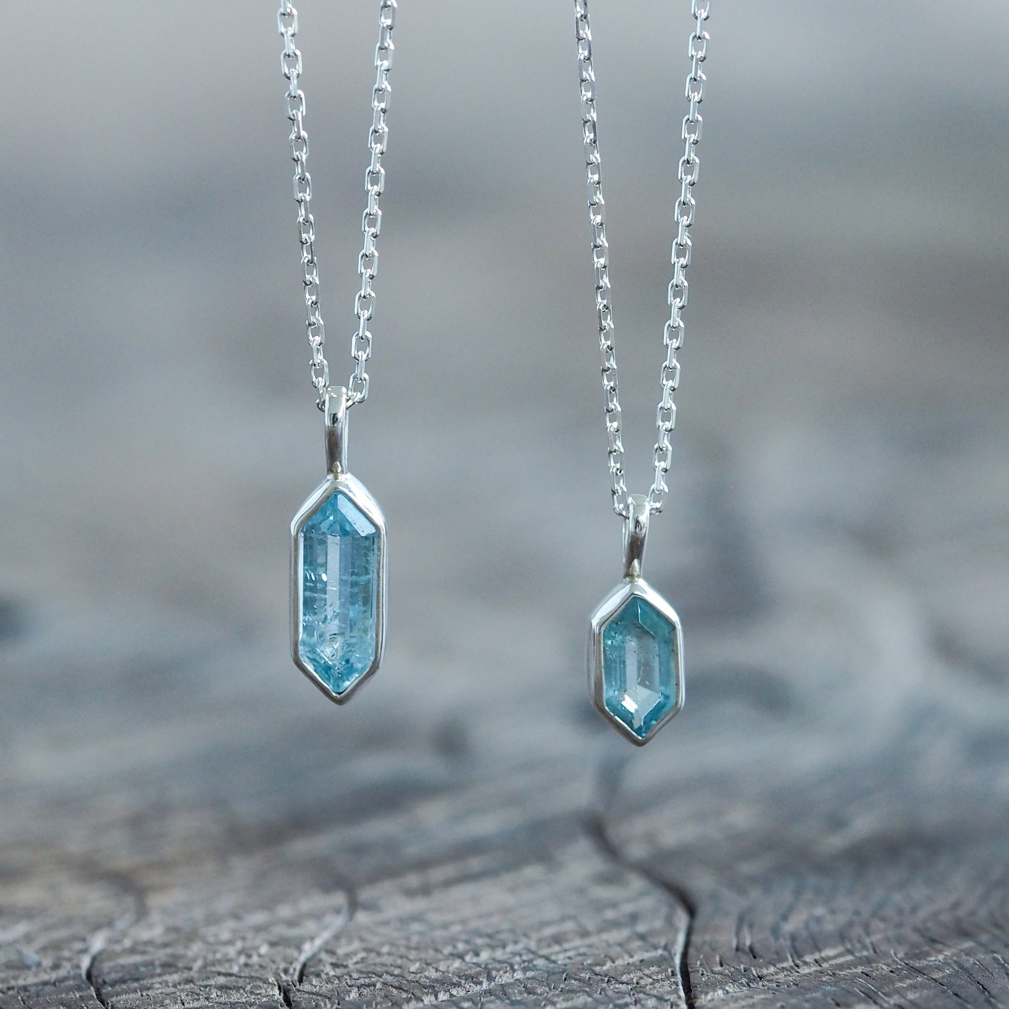 Hexagon Aquamarine Necklace