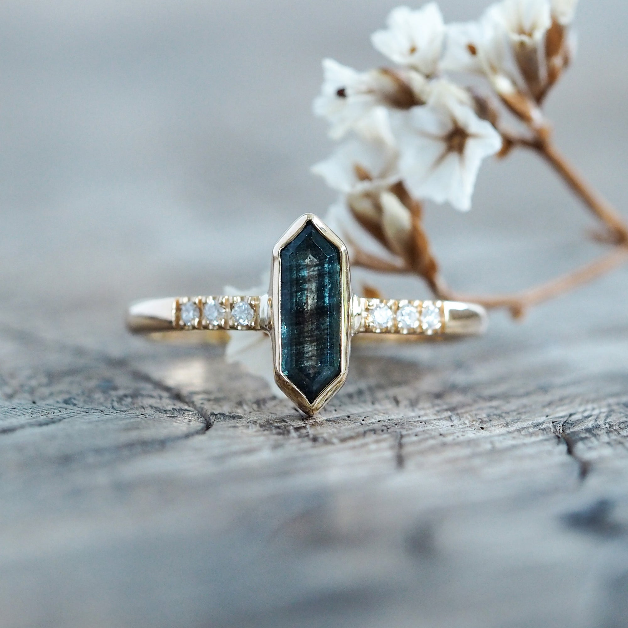 Moss Aquamarine and Diamond Ring in Eco Gold