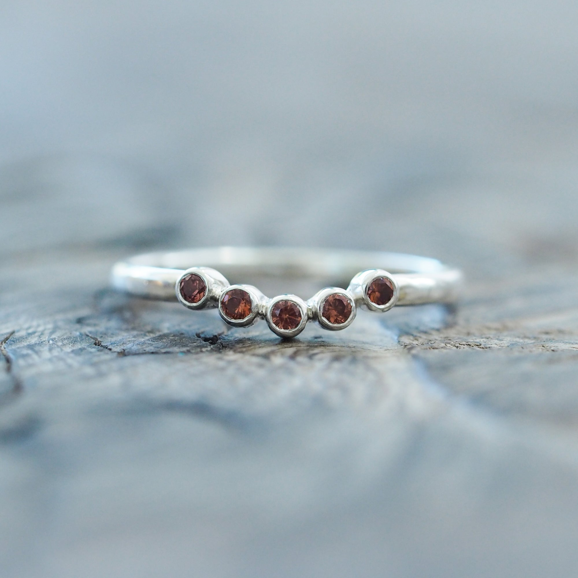 Curved Five Garnet Nesting Ring