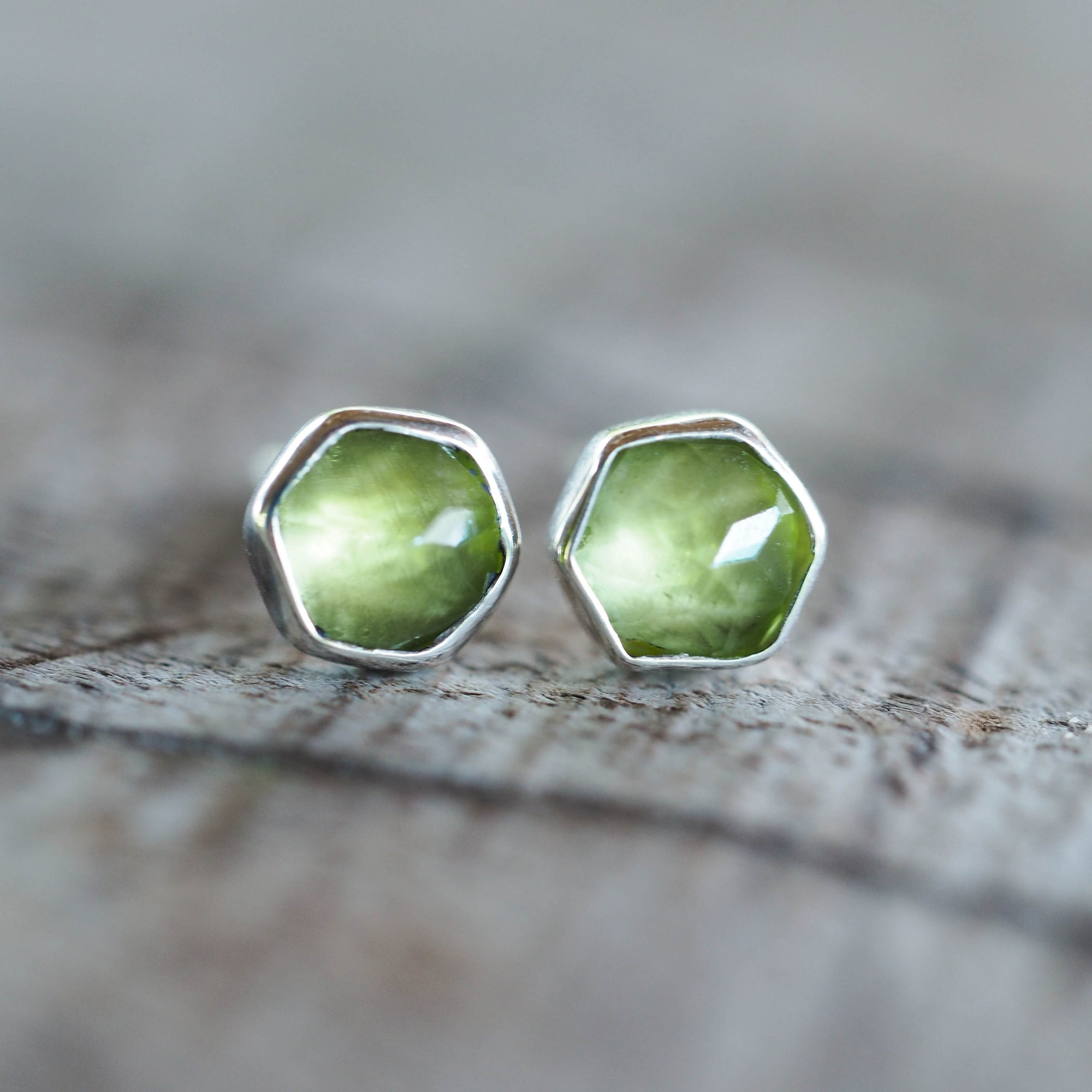 Hexagon Peridot Earrings - Gardens of the Sun Jewelry