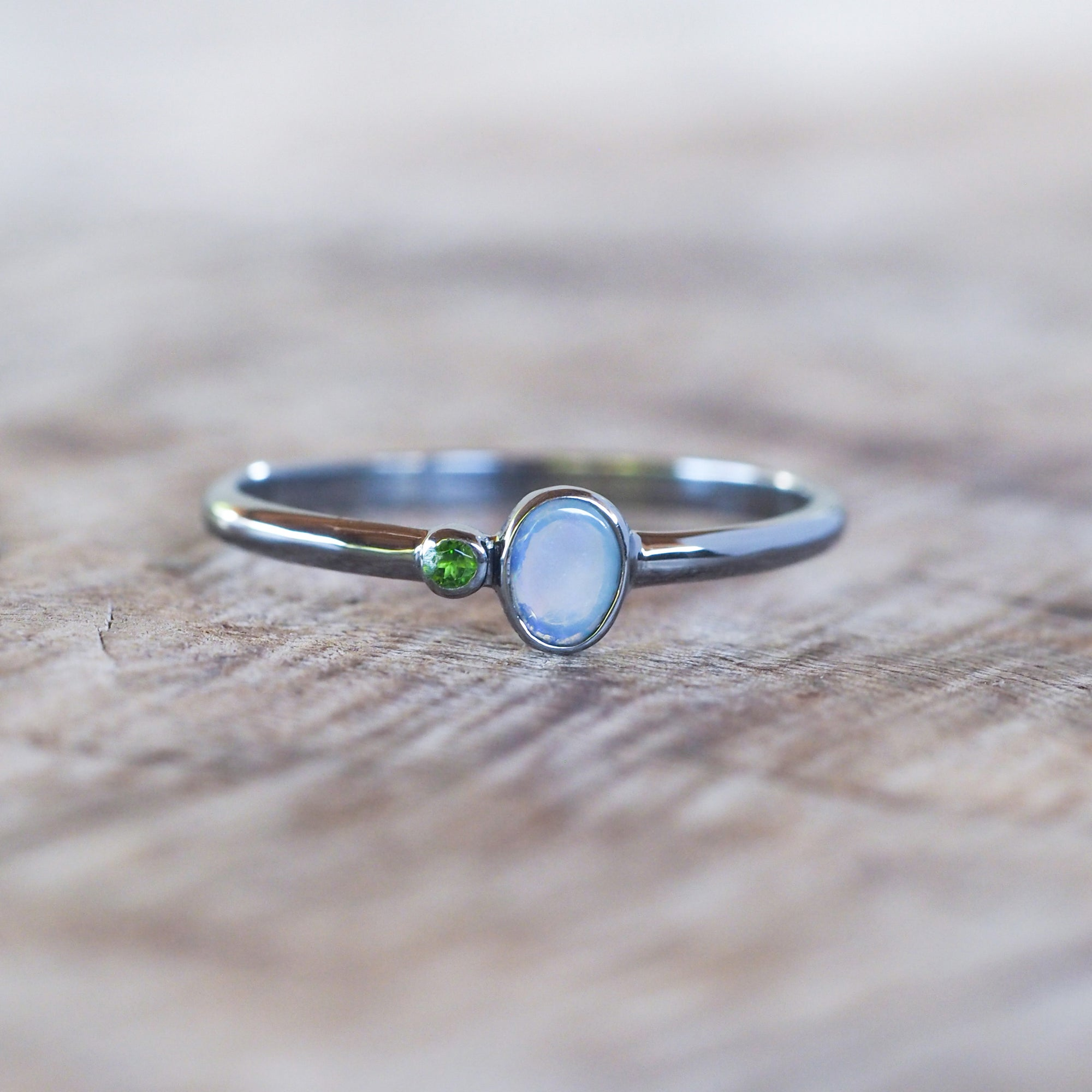 Opal Ring in Black Silver