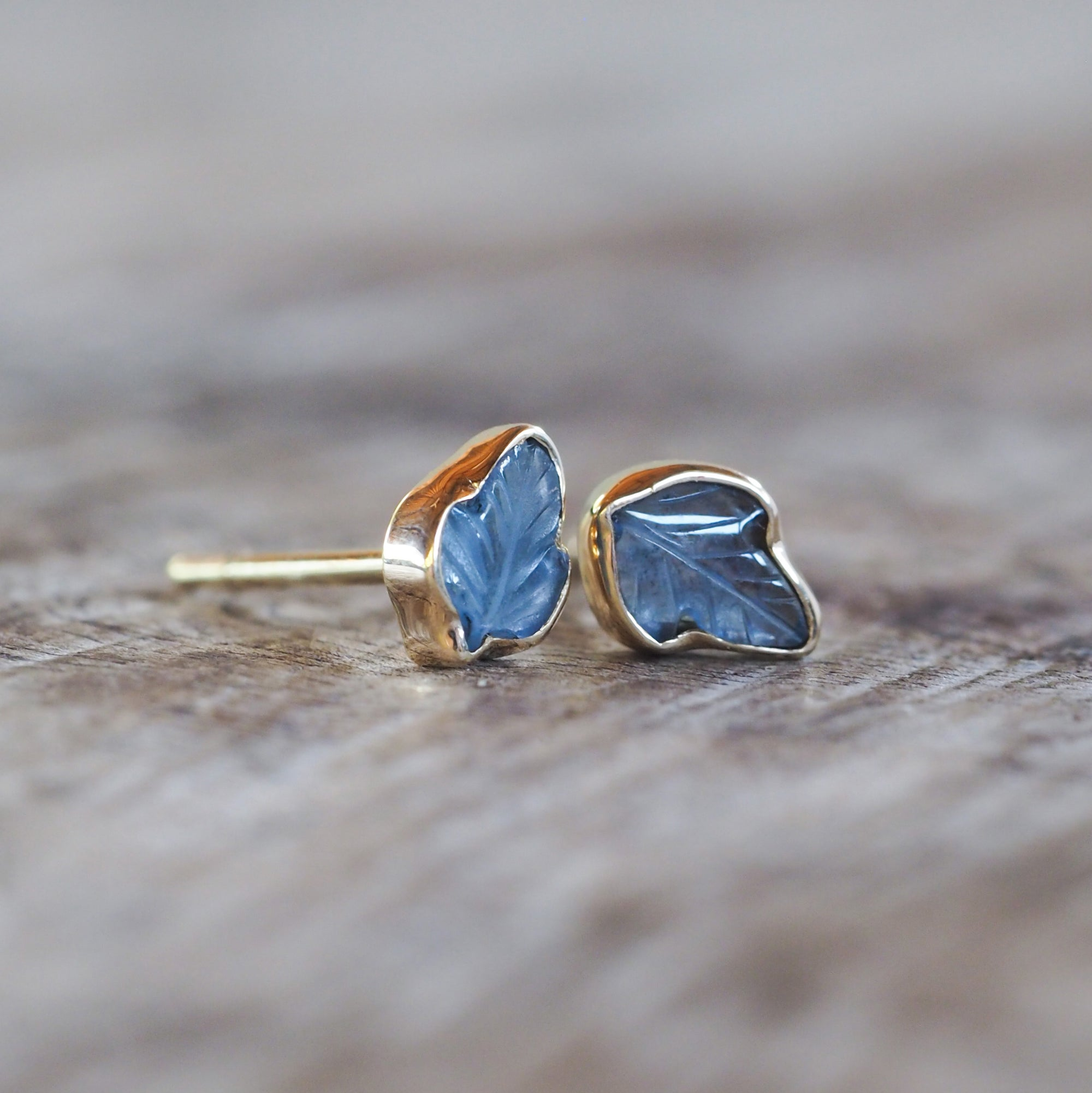 AA ATRI Yogo Sapphire Leaf Earrings - Gardens of the Sun Jewelry
