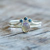 Opal and Garnet Ring Set