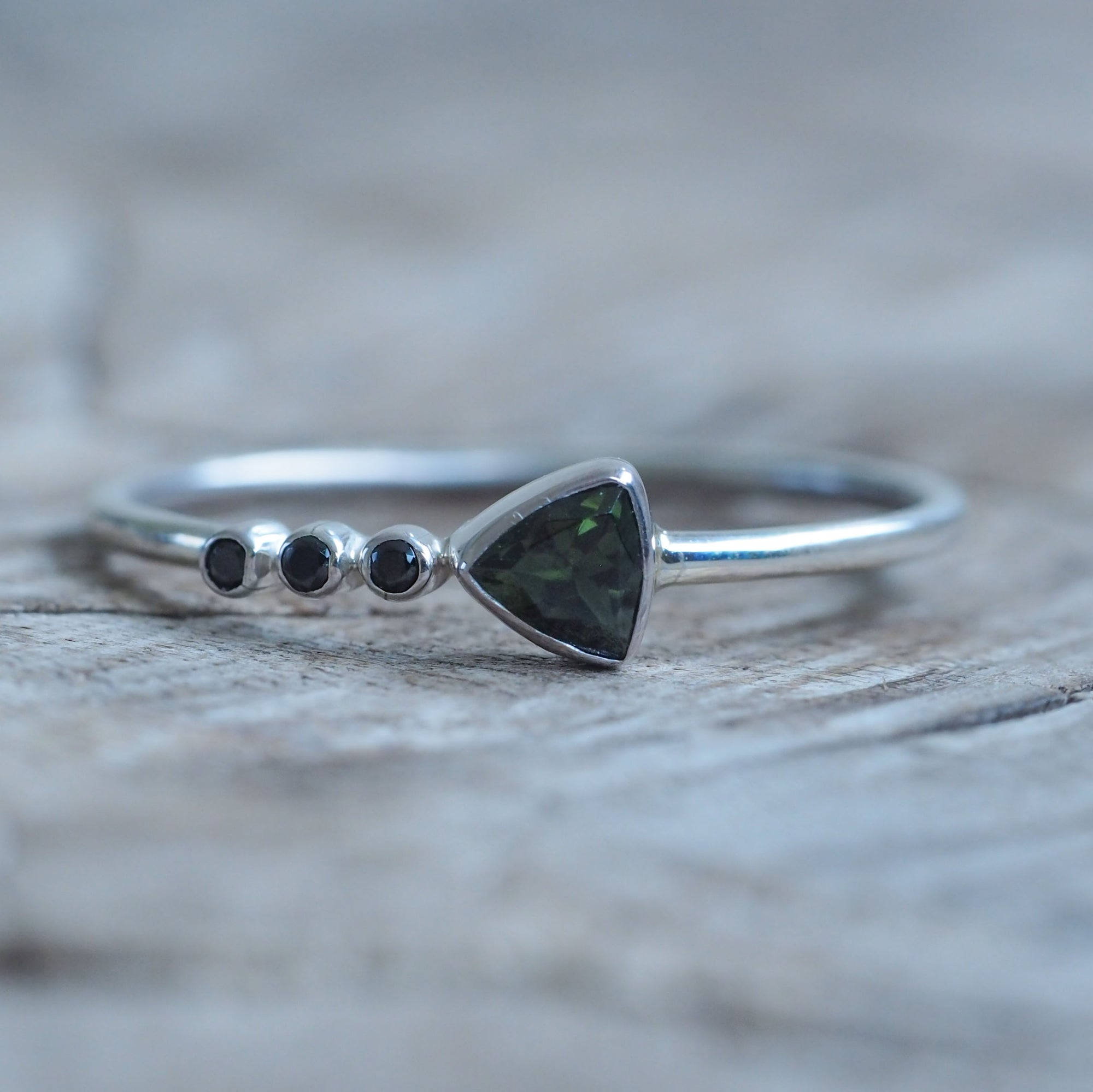Green Tourmaline and Black Spinel Ring