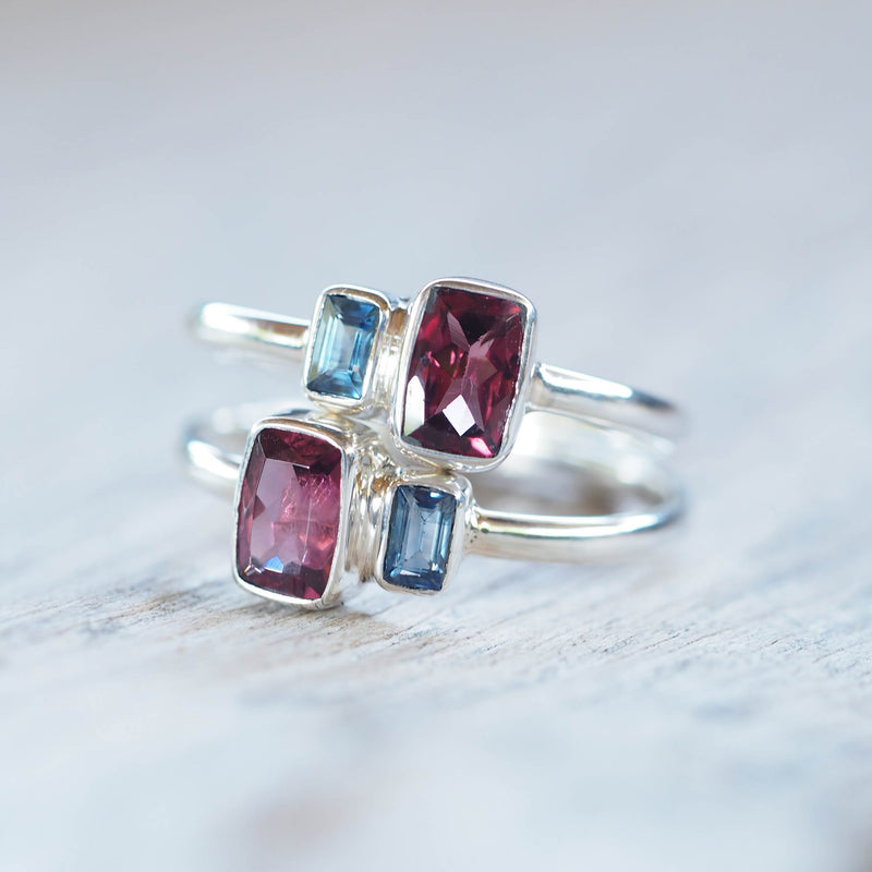 Garnet and Blue Sapphire Ring