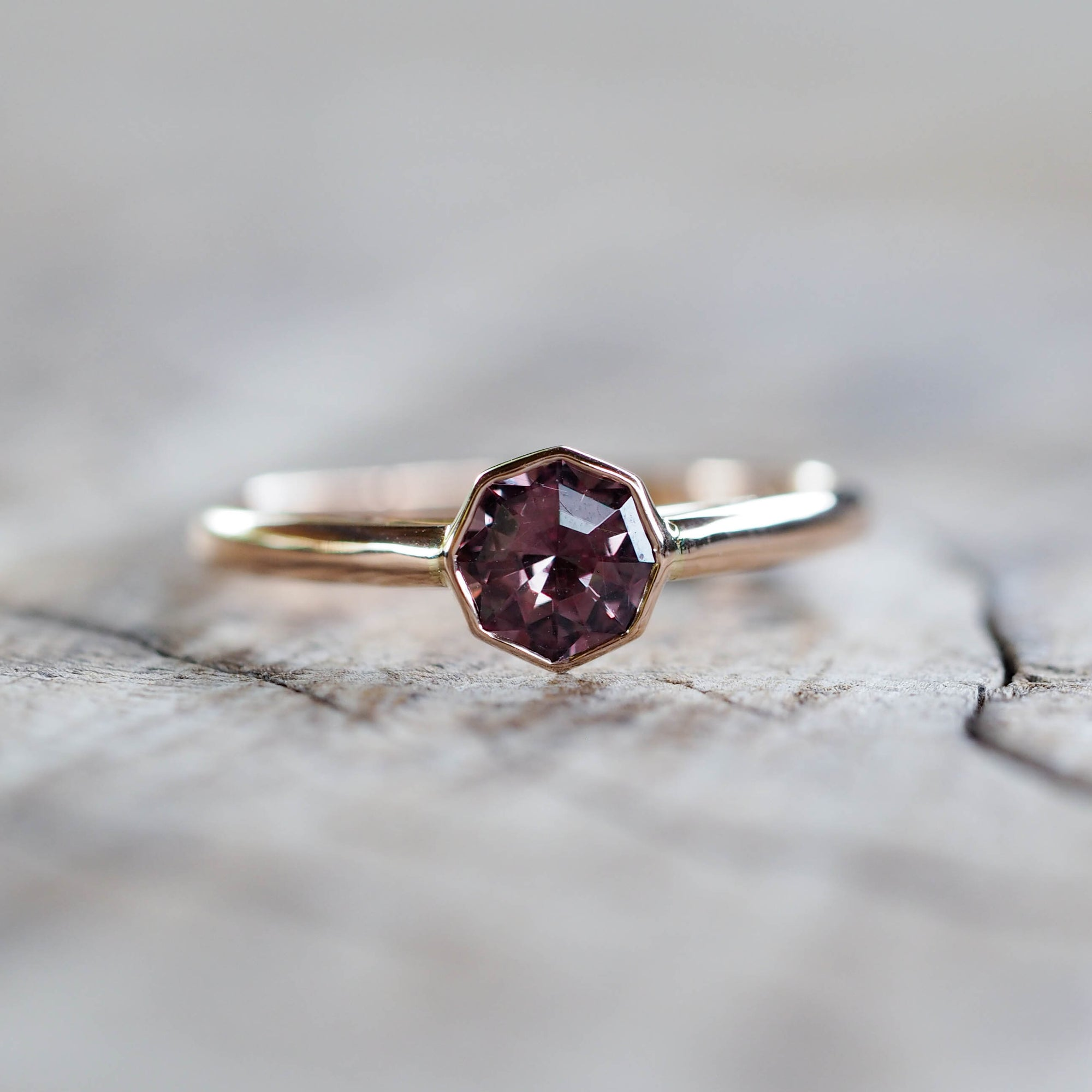 Color change Garnet Ring in Rose Gold - Gardens of the Sun Jewelry