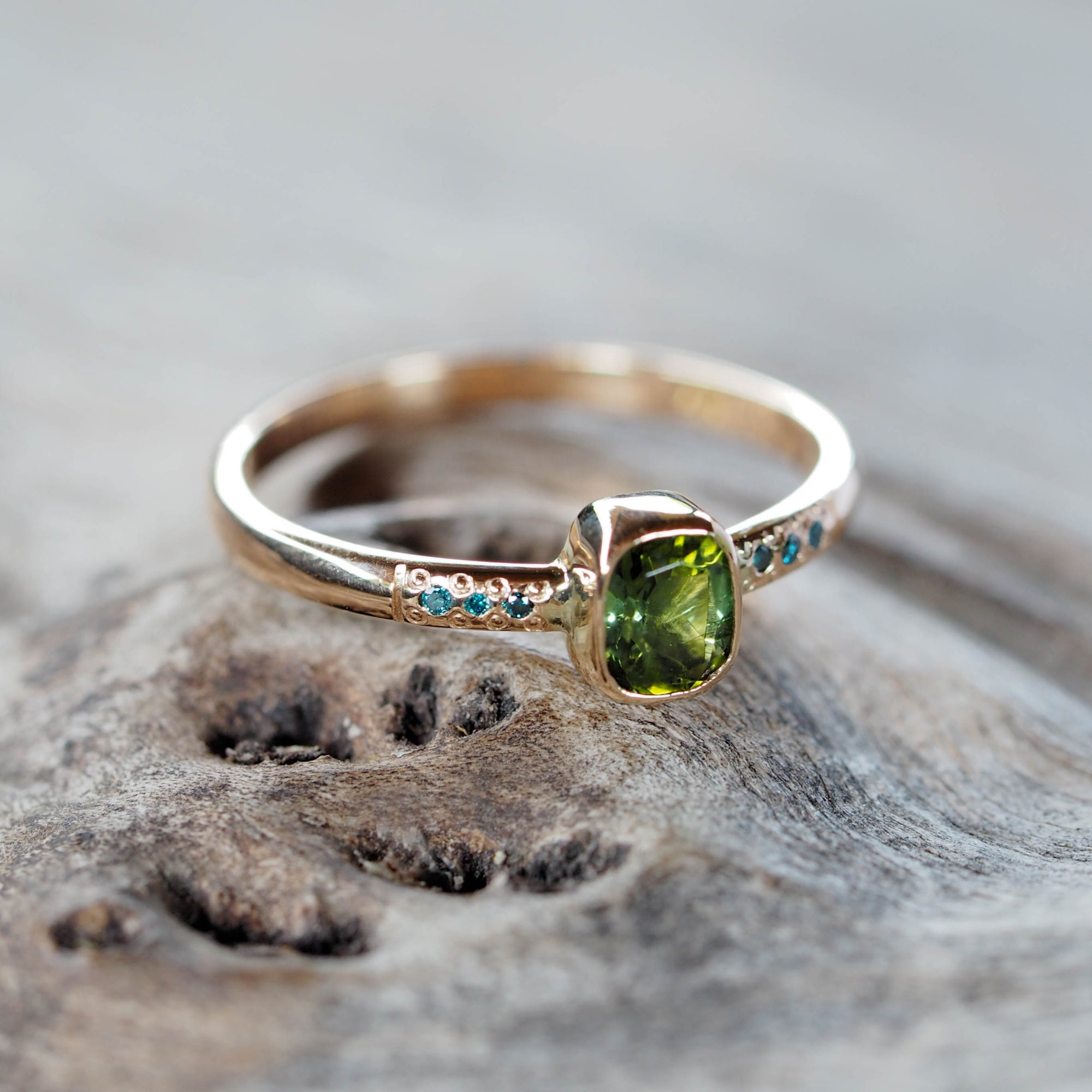 Green Tourmaline and Blue Diamond Ring