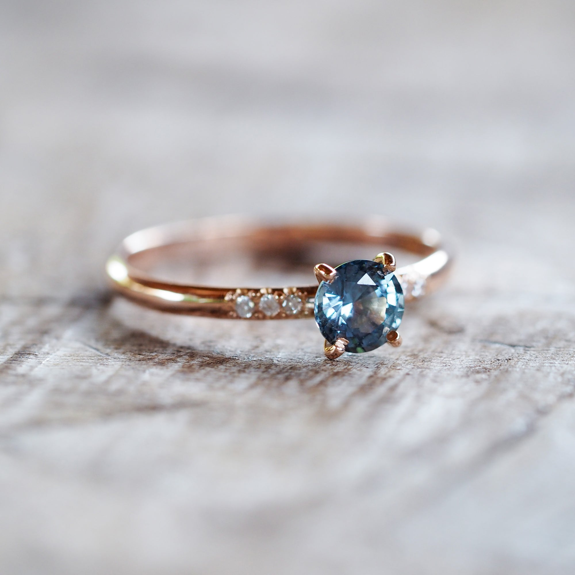Blue Ceylon Sapphire Ring in Rose Gold