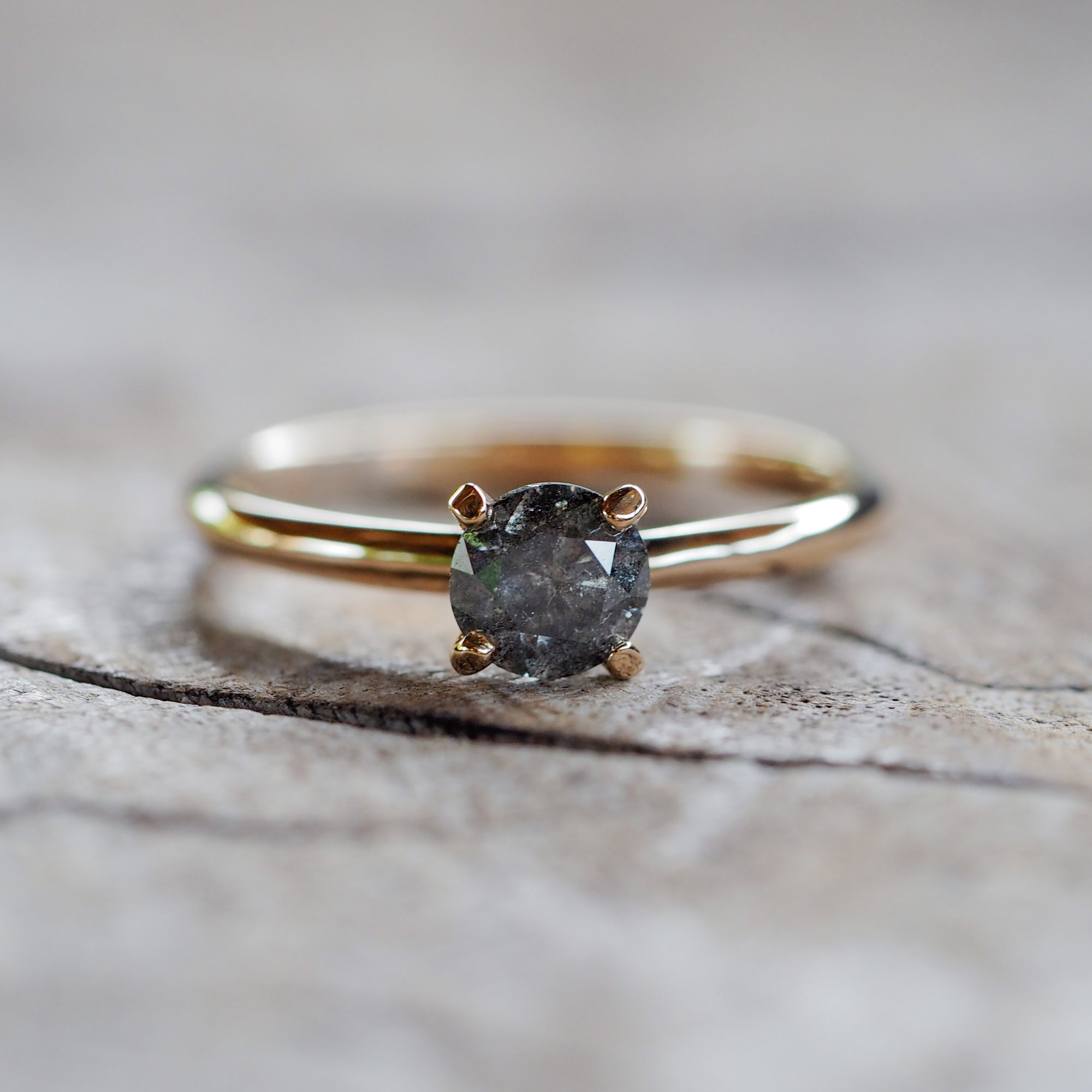AA Dark Grey Borneo Diamond Ring - Gardens of the Sun Jewelry