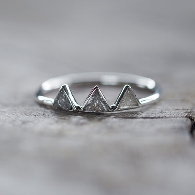 AA Meri check Mountain Diamond Slice Ring - Gardens of the Sun Jewelry
