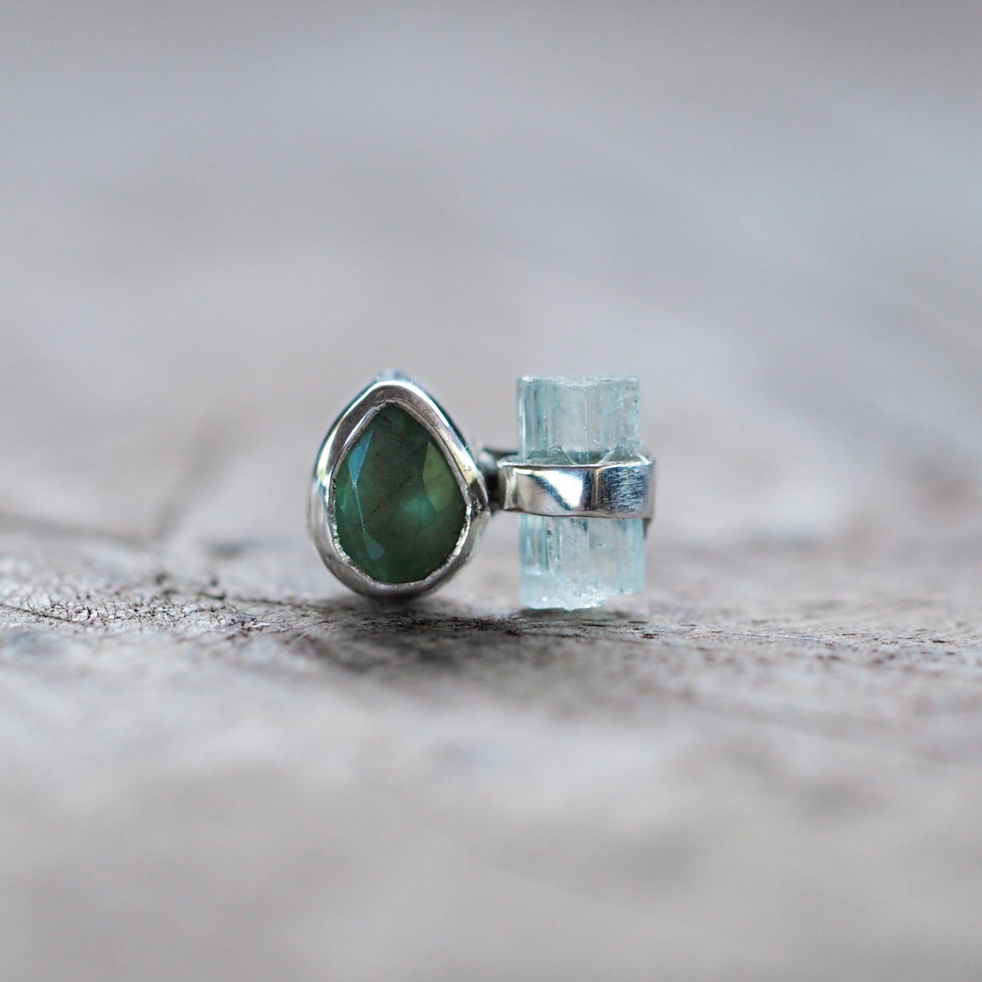 Single Emerald and Aquamarine Crystal Earring