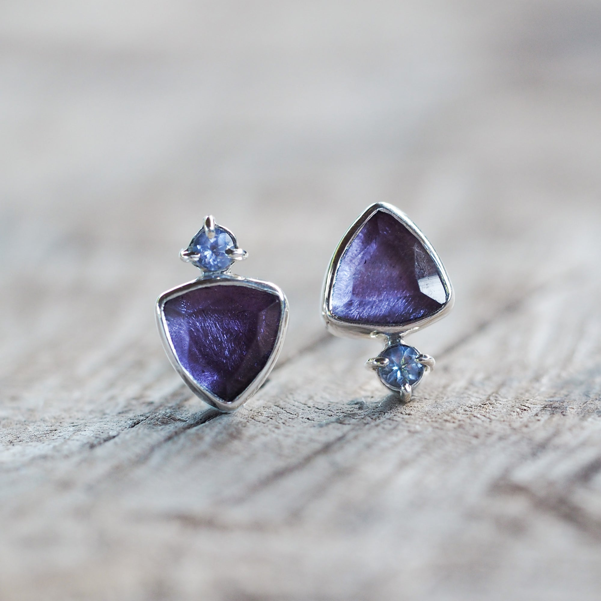 AA ANNISA Mismatched Amethyst and Tanzanite Earrings - Gardens of the Sun Jewelry