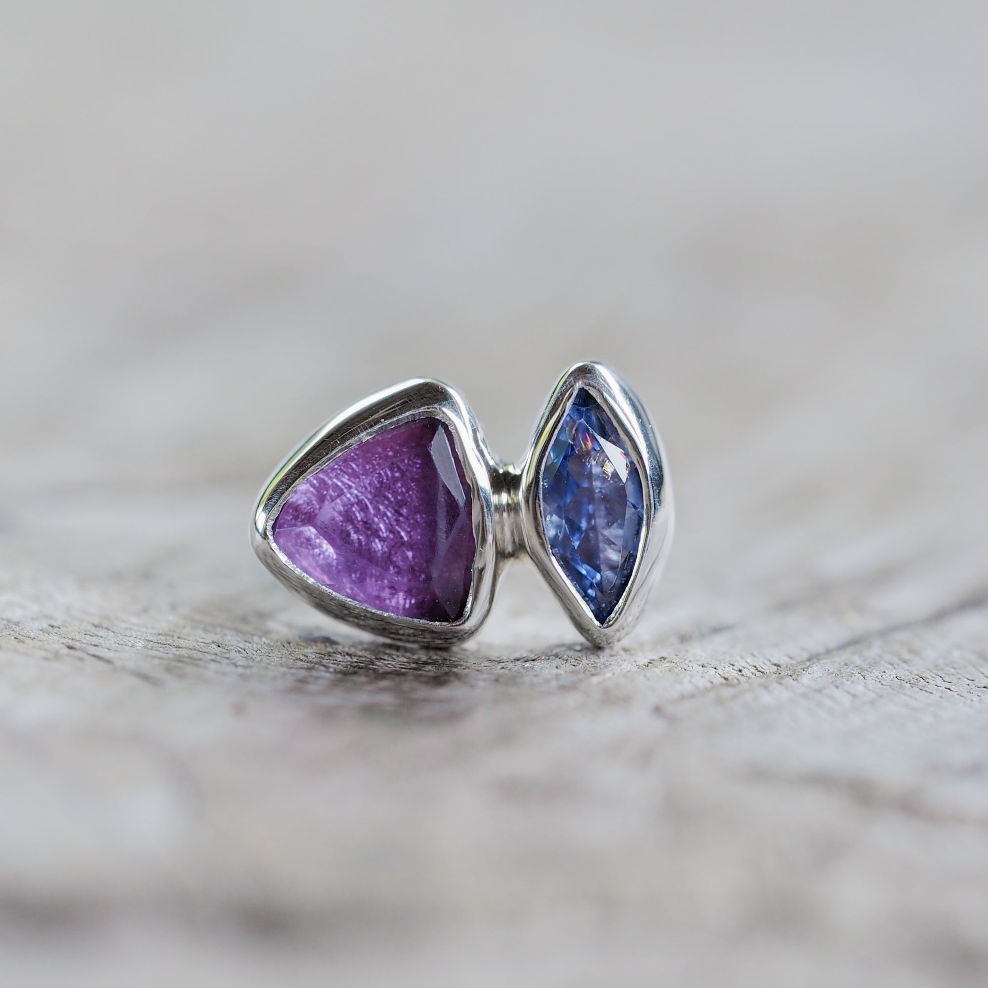 AA ANNISA Amethyst and Tanzanite Single Earring - Gardens of the Sun Jewelry