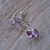 AA Yudi sku + stock Dangling Amethyst and Tanzanite Earrings - Gardens of the Sun Jewelry