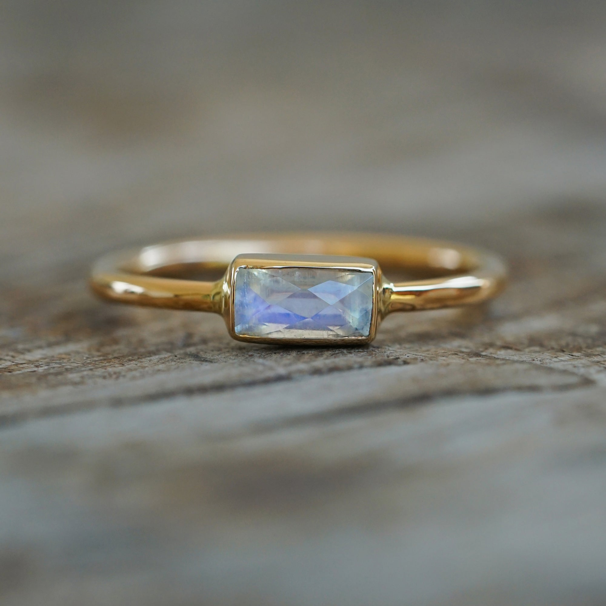 Custom baguette Moonstone Ring in Gold