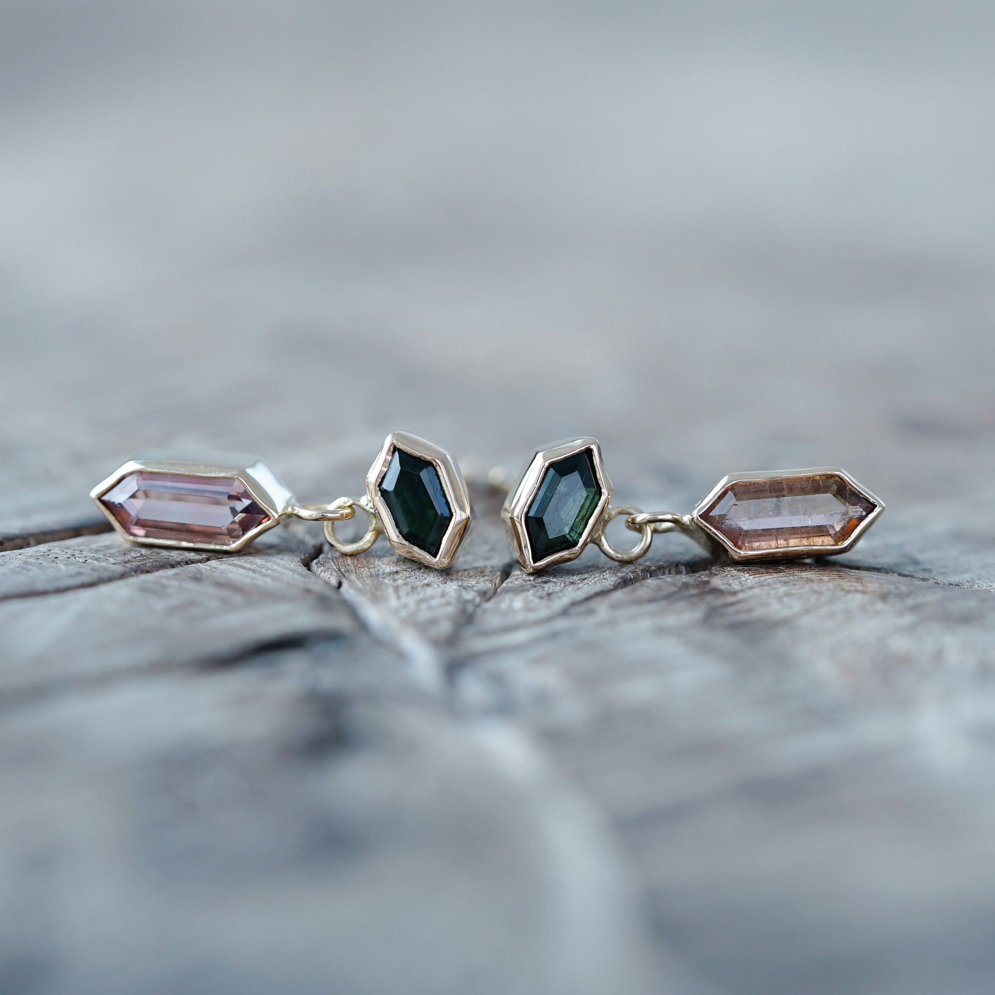 Dangling Hexagon Tourmaline Earrings in Eco Gold