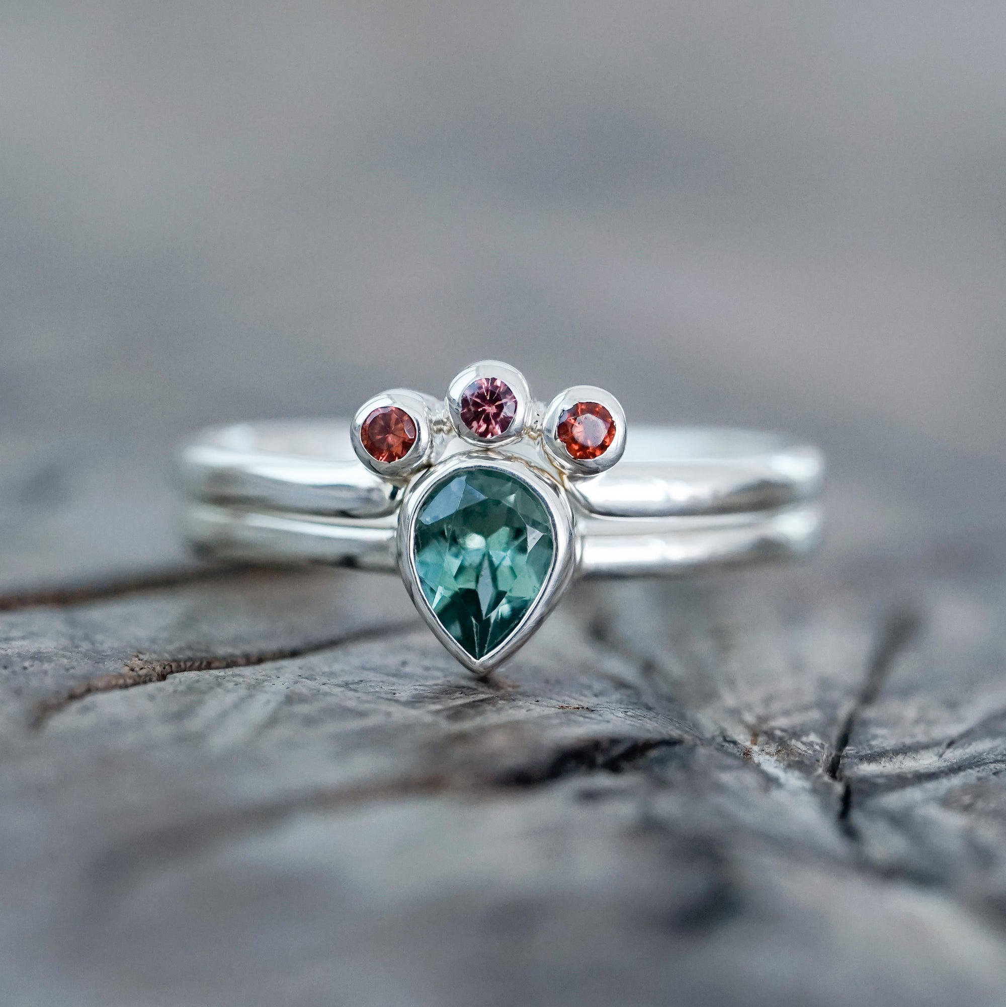 Tourmaline and Garnet Ring Set