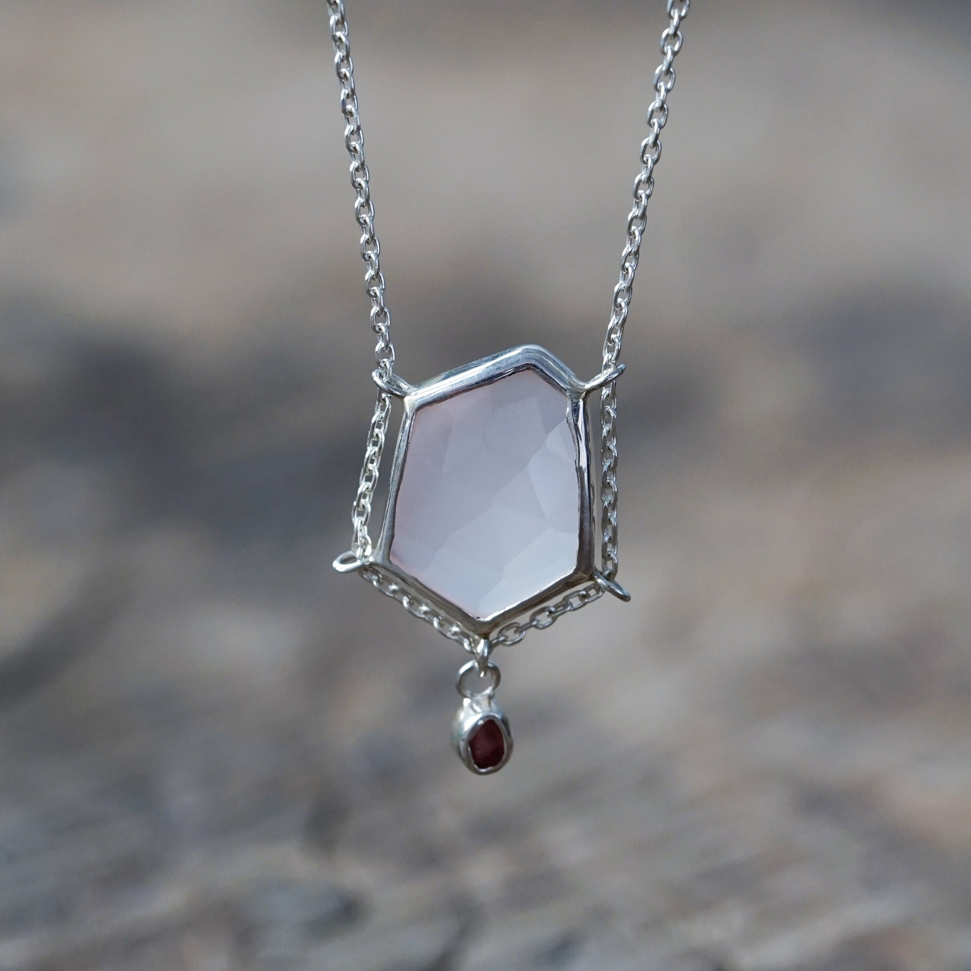 Rose Chalcedony and Spinel Necklace