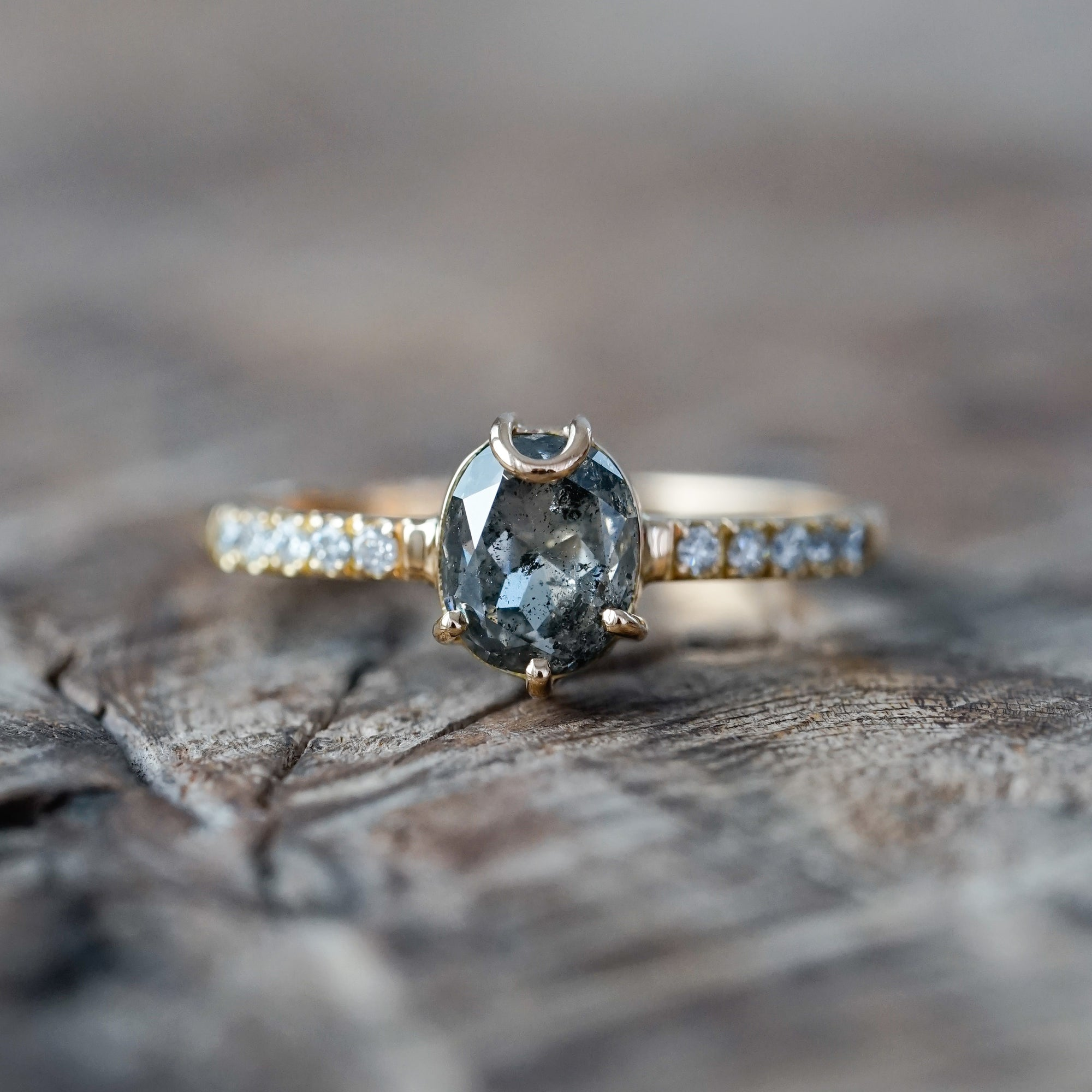 Oval Salt and Pepper Diamond Ring in Eco Gold