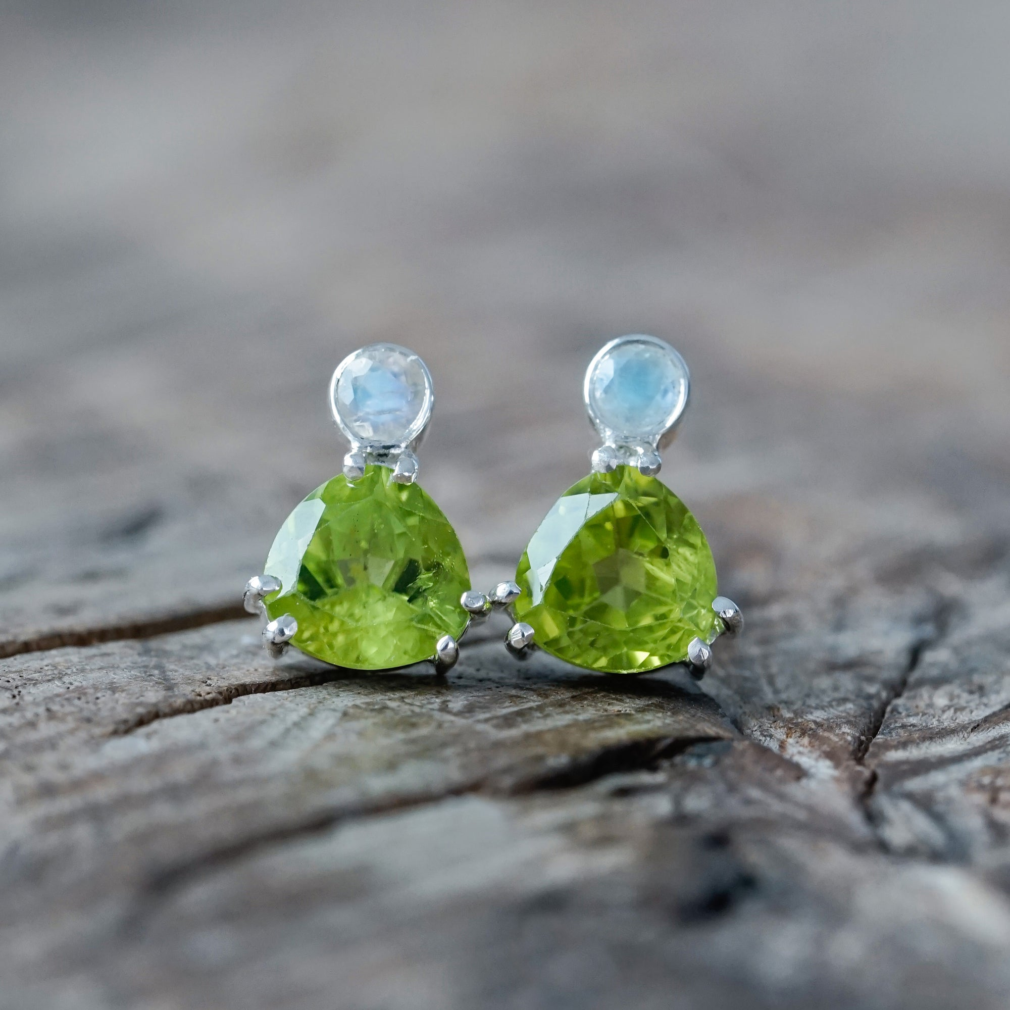 Peridot and Moonstone Earrings