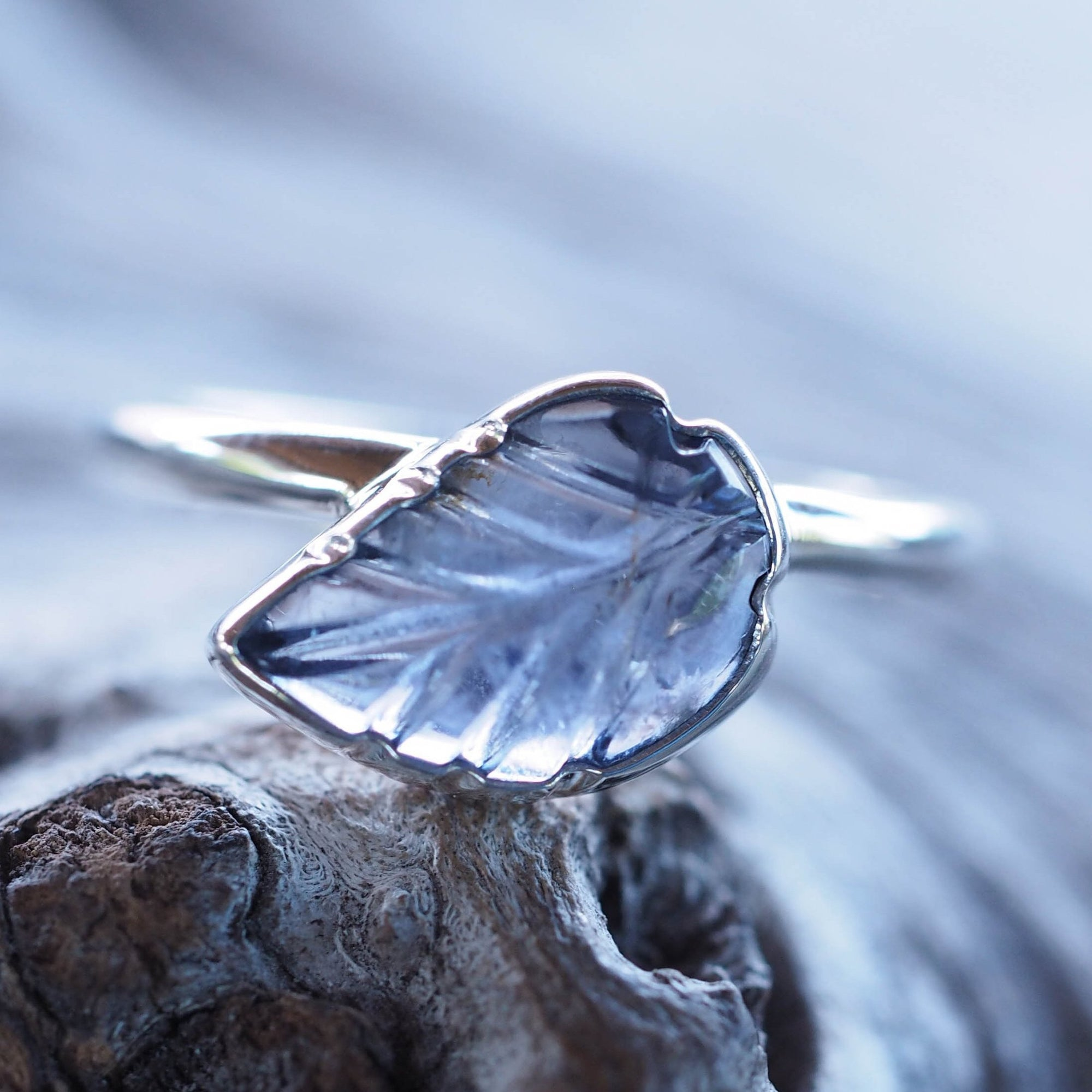 Iolite Leaf Ring - Gardens of the Sun Jewelry