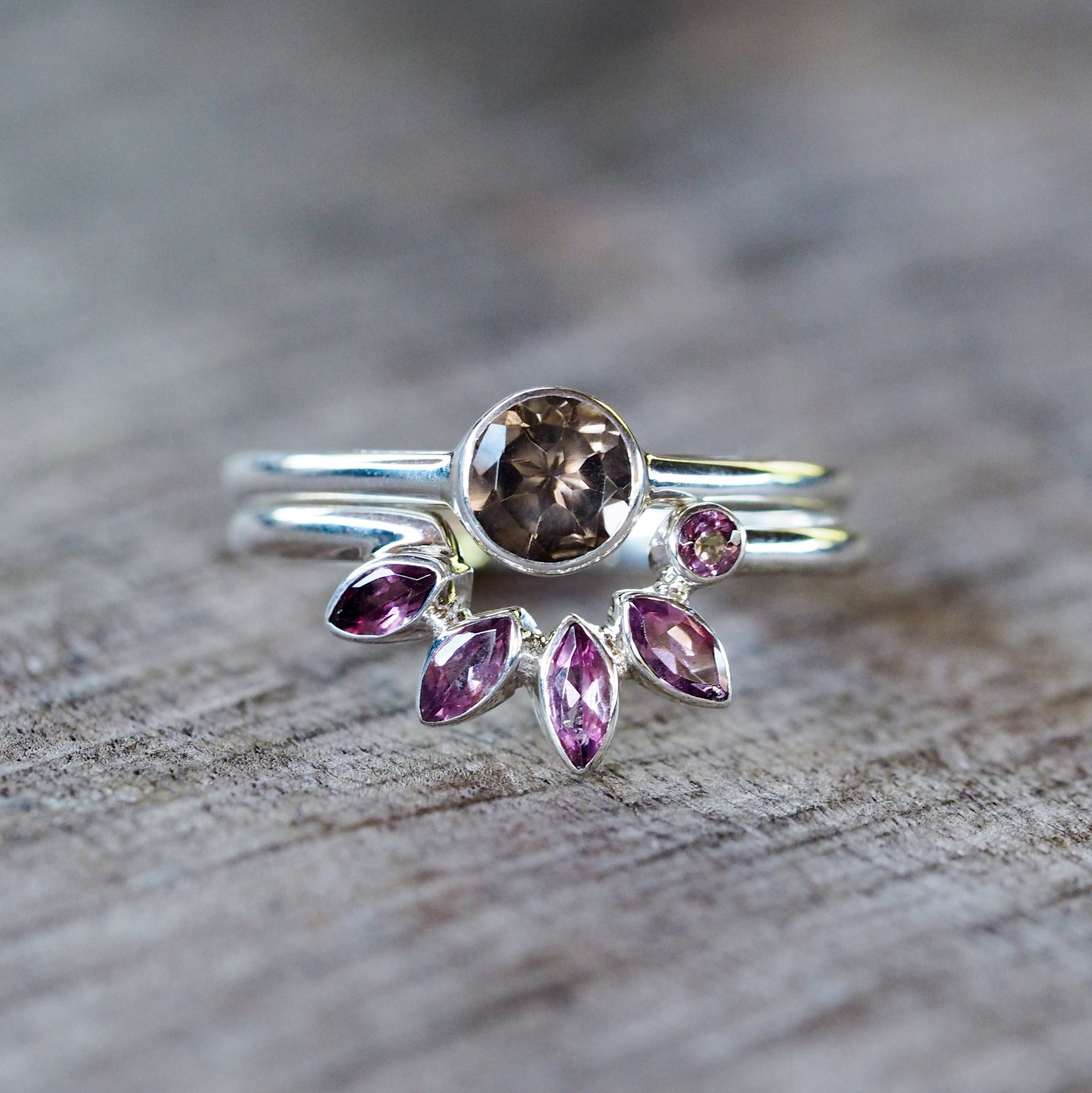 Asymmetric Quartz and Garnet Ring Set - Gardens of the Sun Jewelry