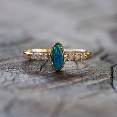 AA Opal and Diamond Ring in Gold - Gardens of the Sun Jewelry