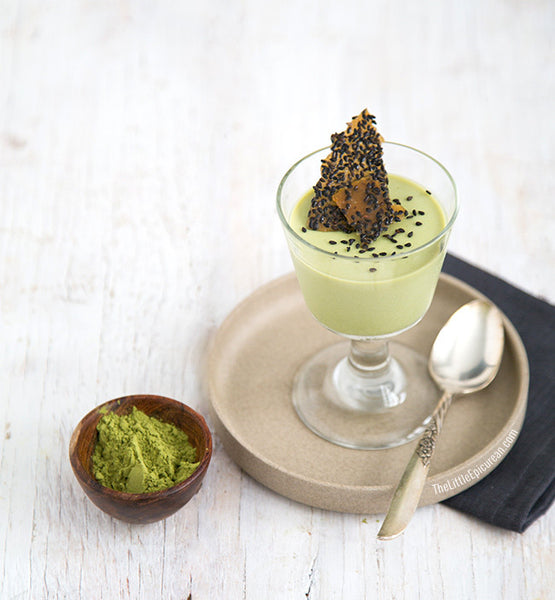 Matcha Green Tea Panna Cotta With Black Sesame Brittle