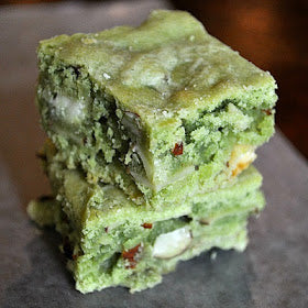 Matcha green tea white brownies