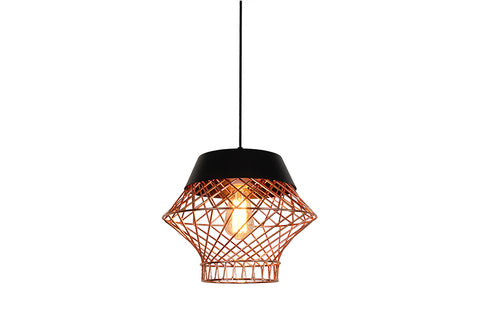 VM Imports Bali Pendant 1 Light in Rose Gold or Chrome 32cm