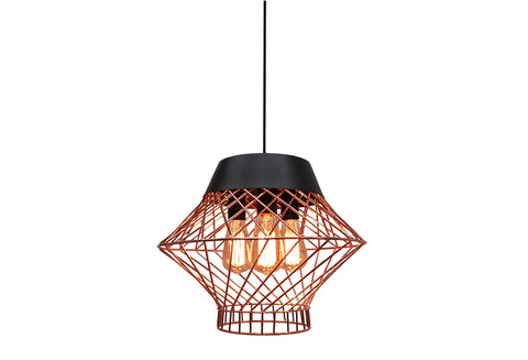 VM Imports Bali Pendant 3 Light in Rose Gold or Chrome 40cm