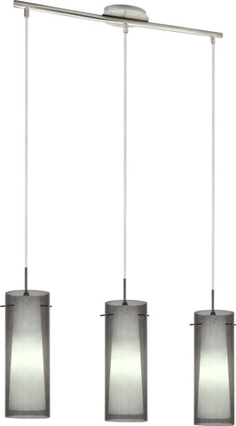 VM Imports Amore Pendant 3 Light Twin Glass in Red Grey or Clear E27 60cm