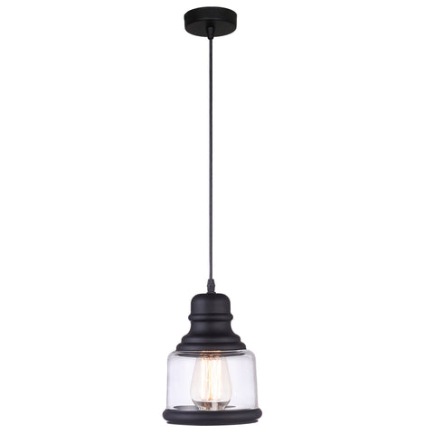 VM Imports Belko Pendant 1 Light E27 Black w Clear in 22cm
