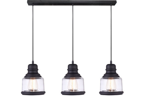 VM Imports Belko Pendant 3 Light E27 Black w Clear in 83cm