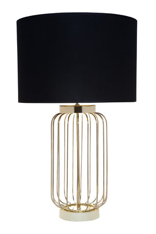 Cafe Lighting Cleo Table Lamp Gold with Black Shade B22 61cm