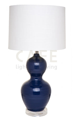 Cafe Lighting Bronte Table Lamp White Shade w Blue or White Base 70cm