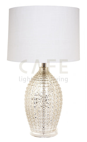 Cafe Lighting Tabitha Table Lamp Mercury Glass w White Shade in 65cm